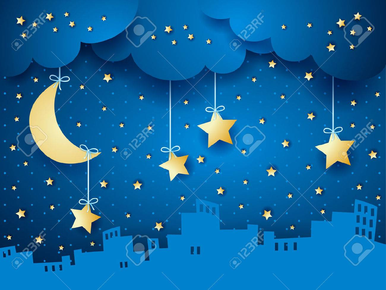Surreal background with moon and skyline. - 53234077