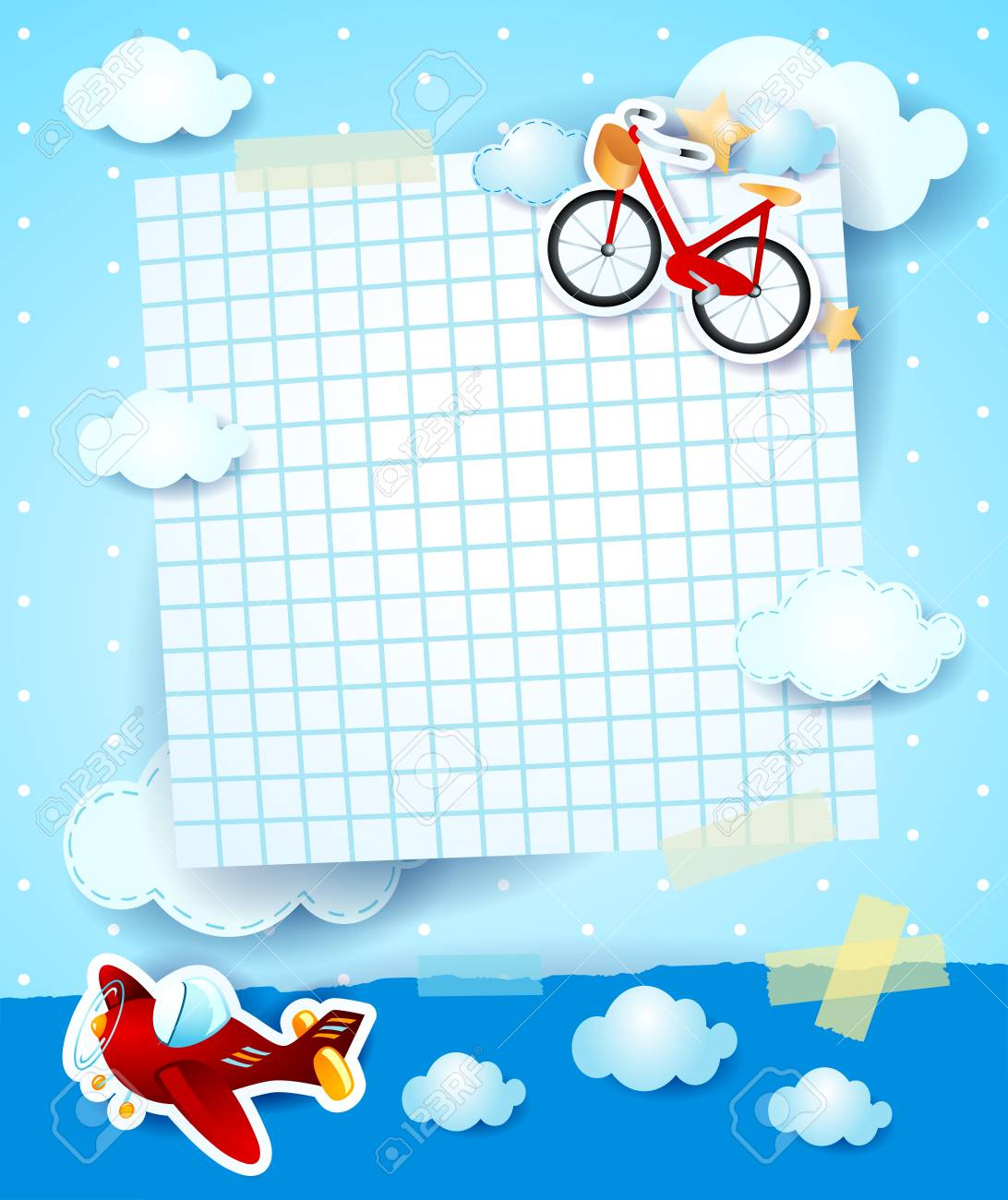 Baby shower invitation with airplane and bike vector illustration baby shower invitation with airplane and bike vector illustration stock vector 97714622 filmwisefo