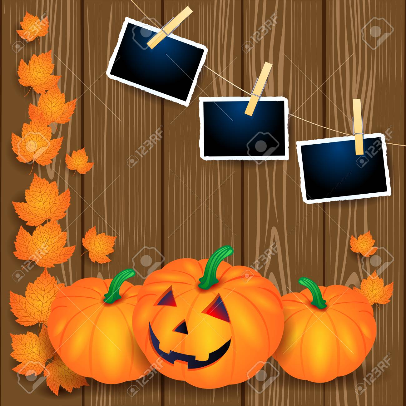 Halloween illustration with pumpkins, leaves and photo frames on wooden background. Vector eps10 - 108956177
