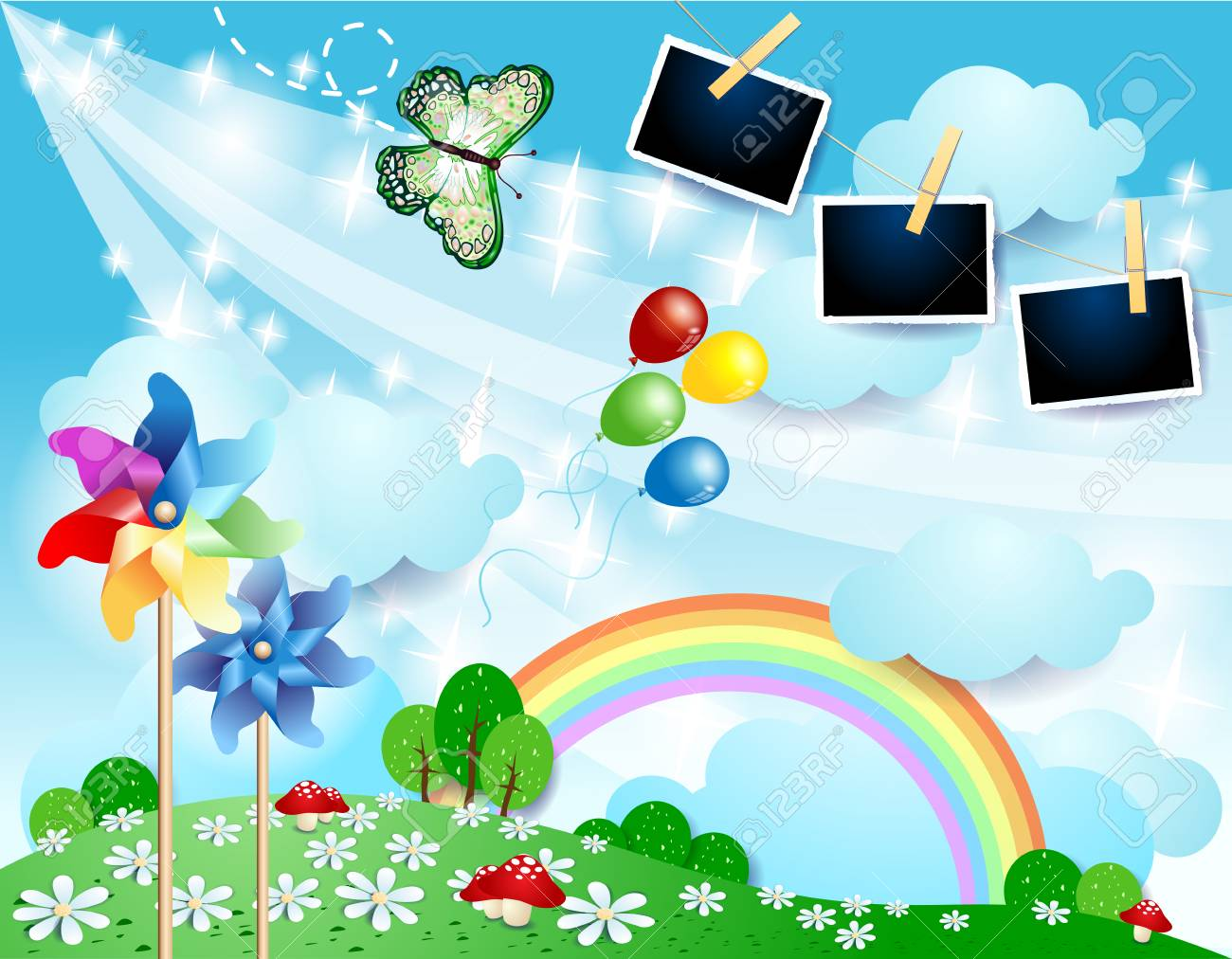 Spring landscape with butterfly, pinwheels and photo frames. Vector illustration eps10 - 125125938