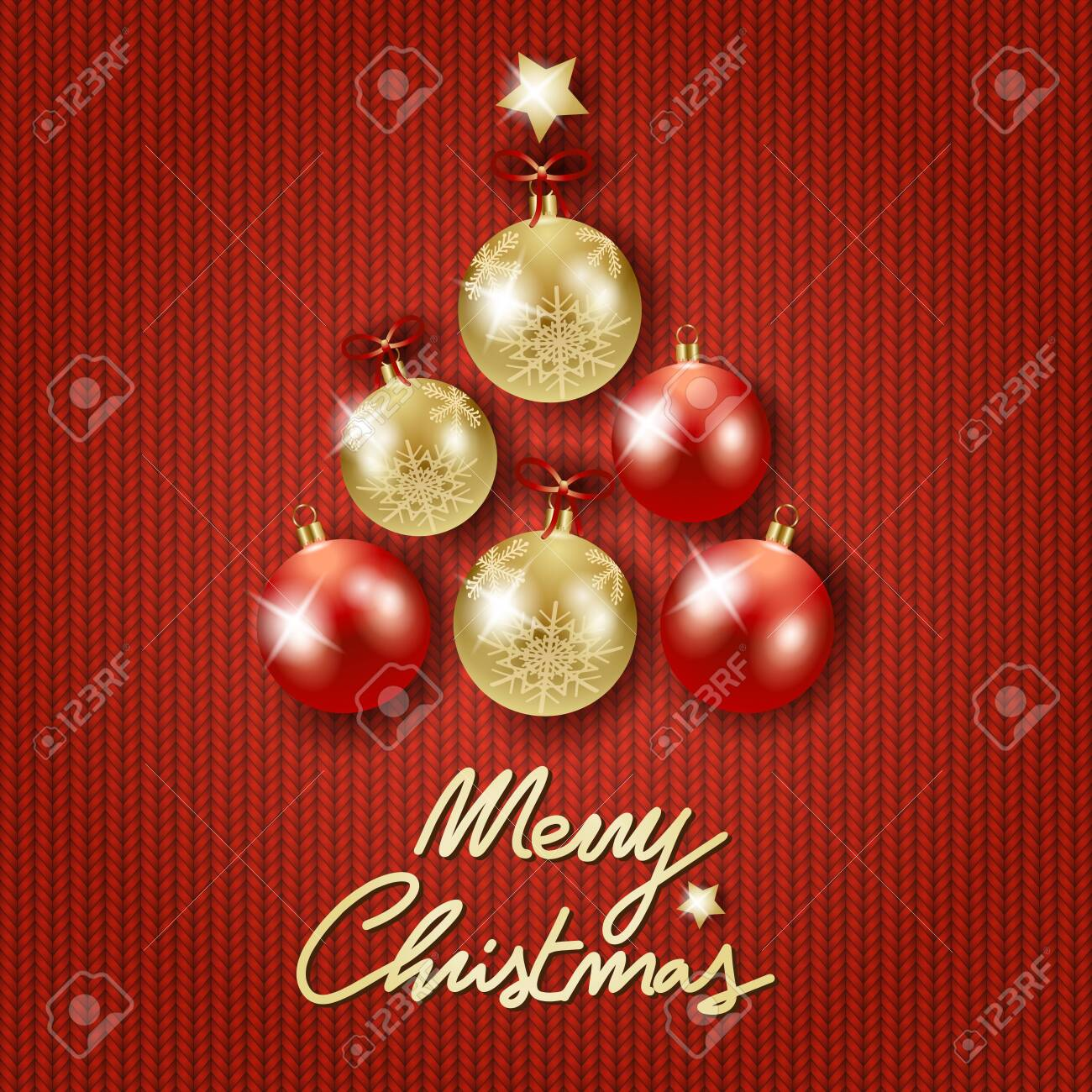 Christmas background with tree, baubles and text on red wool. Vector illustration - 134812010
