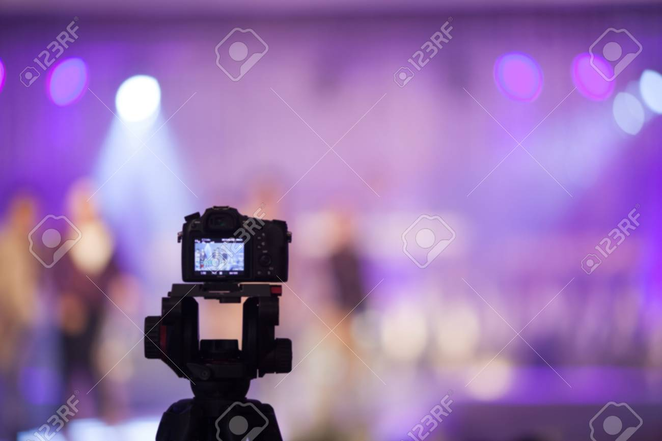 Camcorder At Fashion Show Wedding Fair Out Of Focus Blur Background