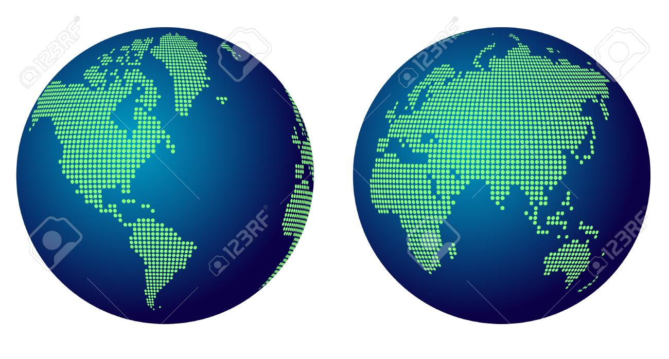 Round Globe Map.Abstract World Map Globe Of Green Round Dots Royalty Free Cliparts