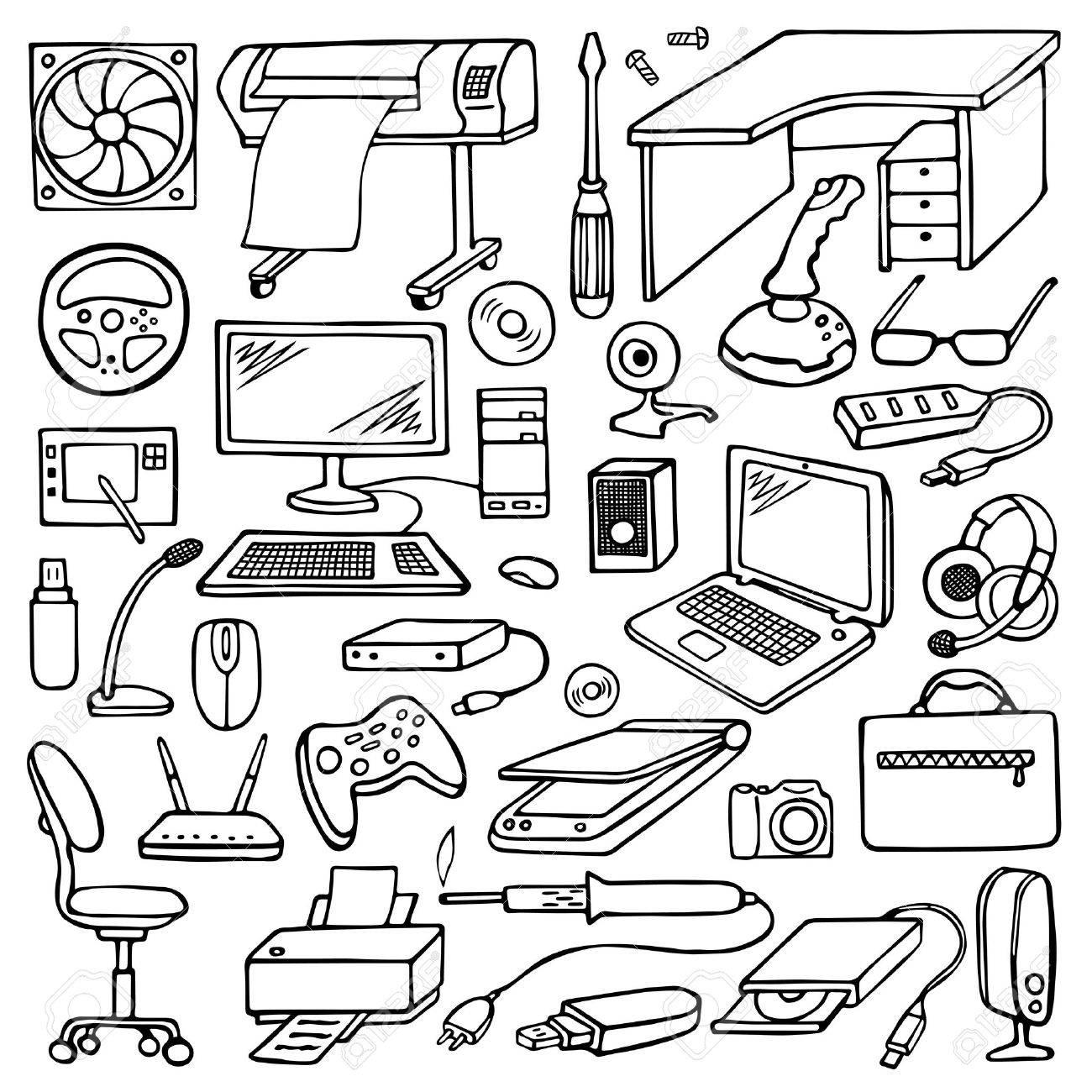 Hand drawn doodle computer set - 46564530