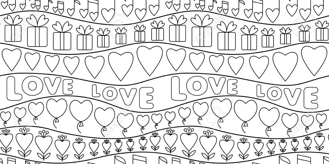 Vector Illustration With Doodle Love Seamless Pattern For Greeting