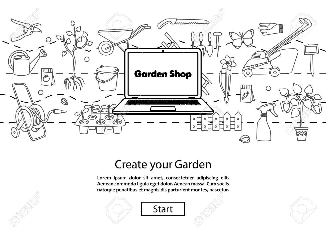 Garden Shop. Concept Website Template. Modern Outline Design. Online Garden  Shopping. Garden