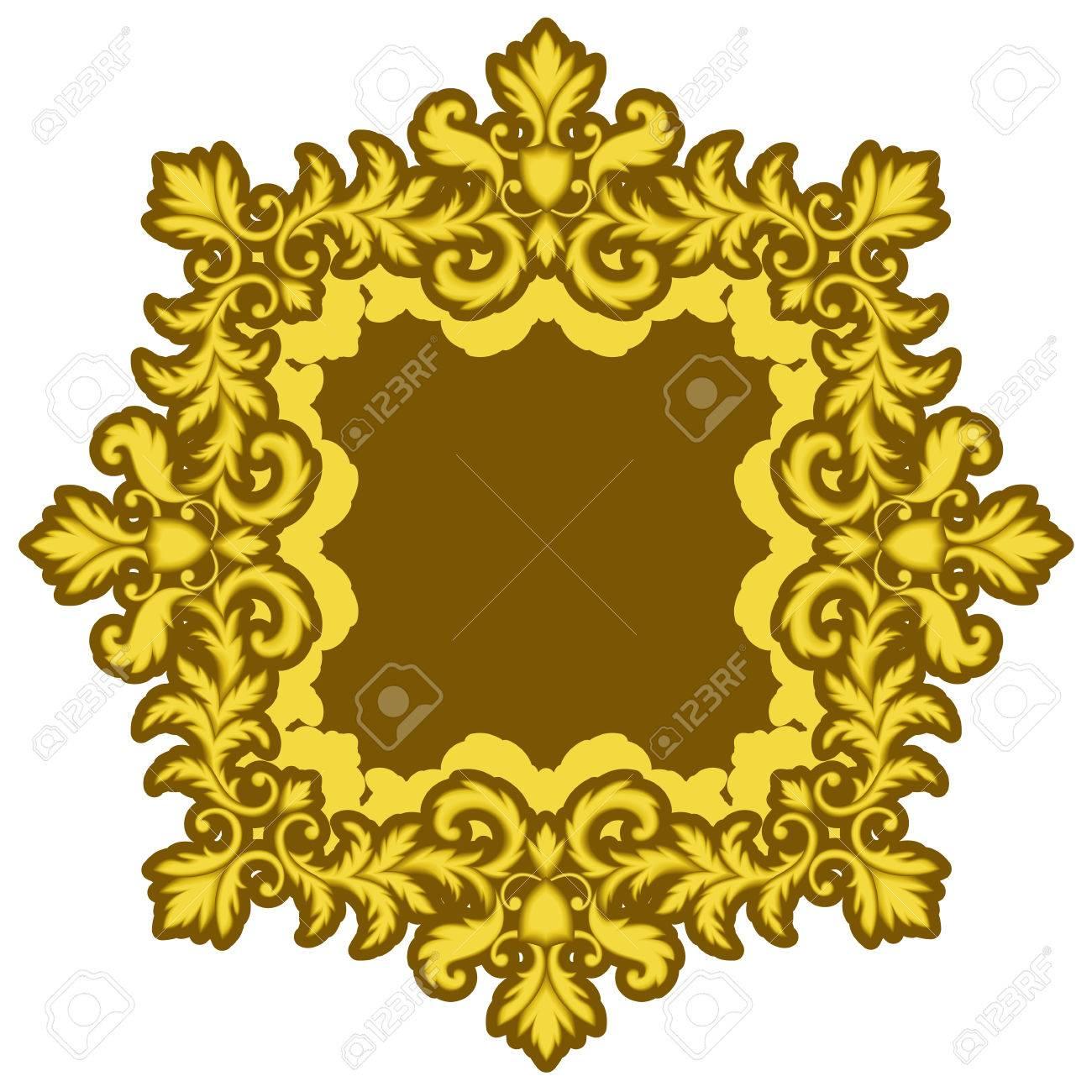 Marco Decorativo Del Oro Aislado En El Fondo Blanco. Parte De Patrón ...