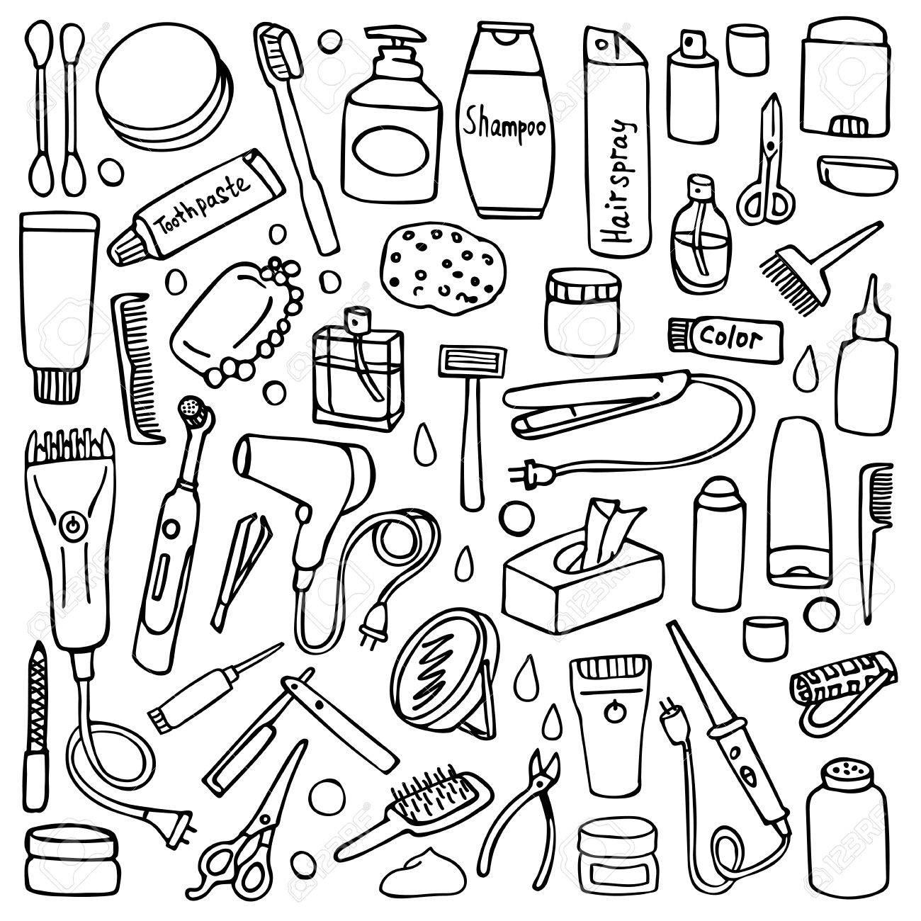 Cuidado Personal Situado En El Fondo Blanco Elementos De Higiene Y Salón De Pelo