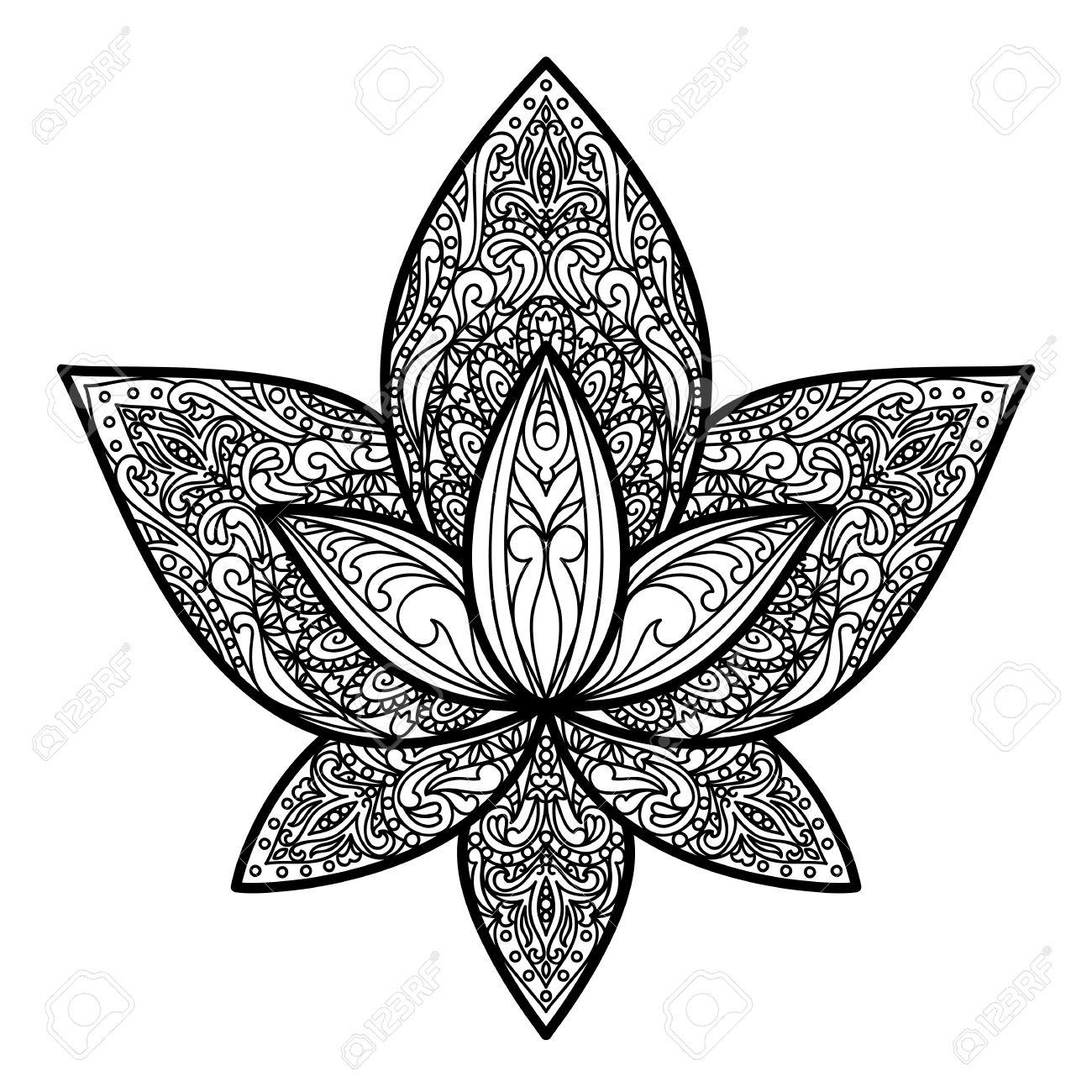 Tatuaje De Loto. Símbolo Floral De Amuletos, Impresiones Textiles ...