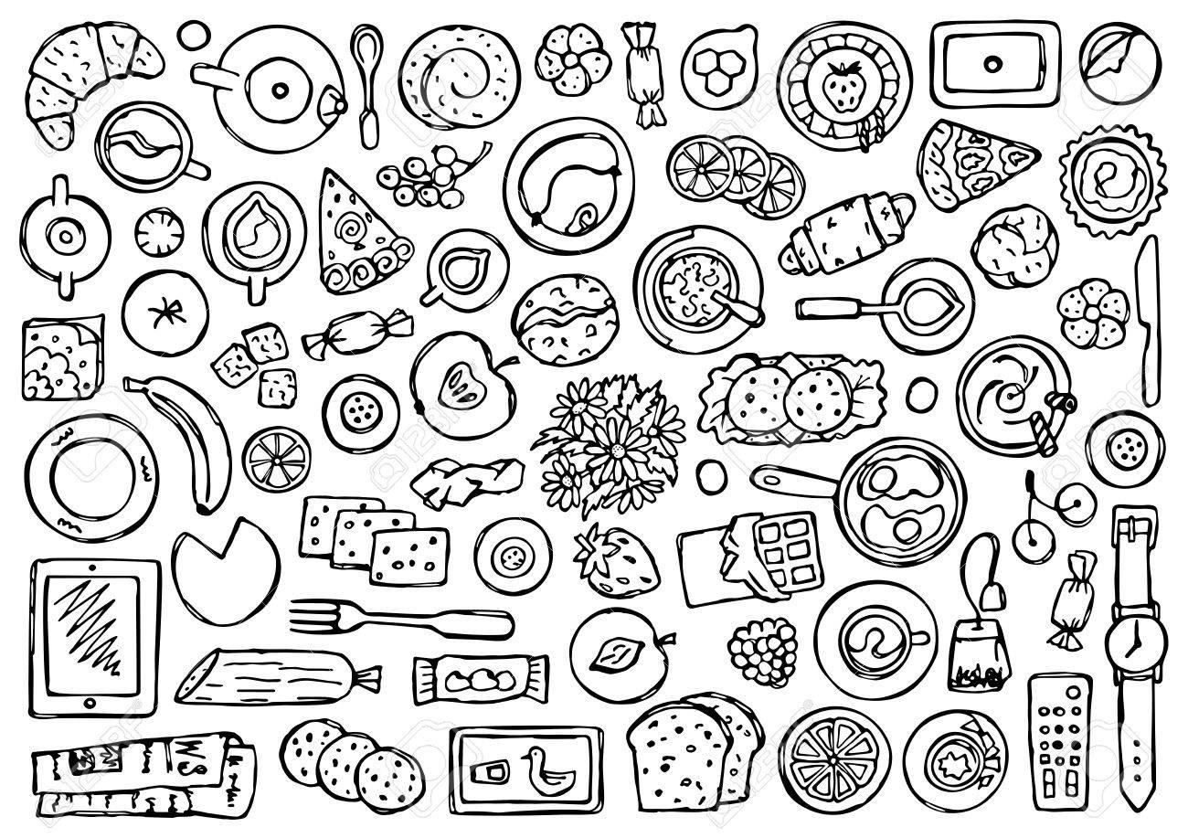 Garabatos Objetos Desayuno Composición Aplanada Vista Superior De Alimentos Bebidas Y Equipo De Cocina Dibujo Para Colorear