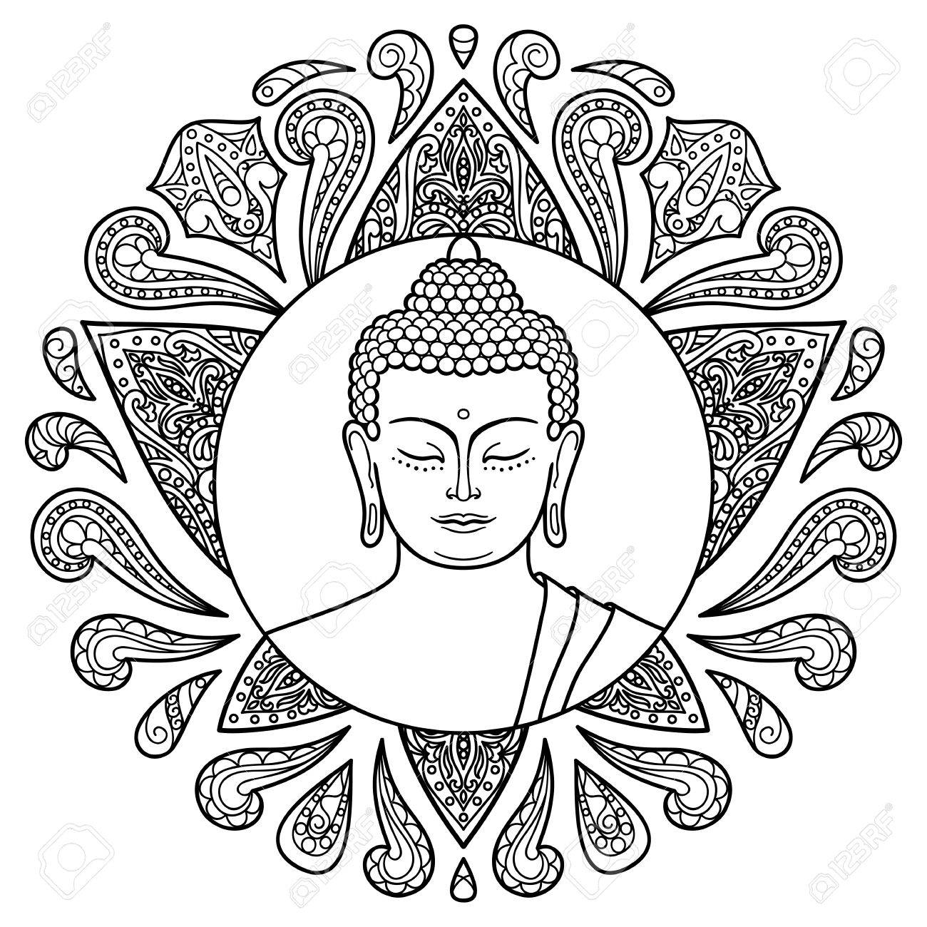 Buddha Head With Lotus Decoration Sign For Tattoo Textile Print