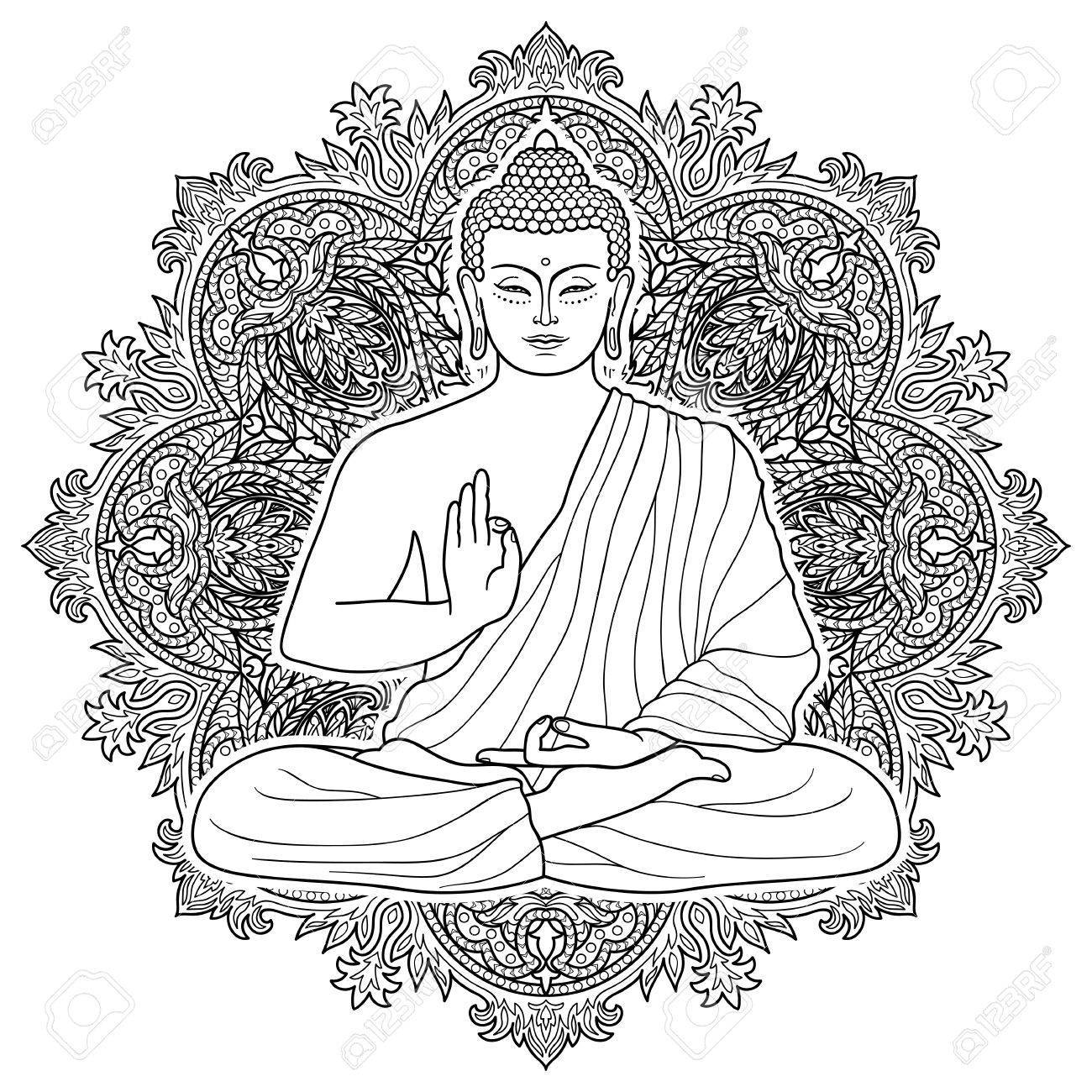 Sitting Buddha In Lotus Position On Floral Round Background ...
