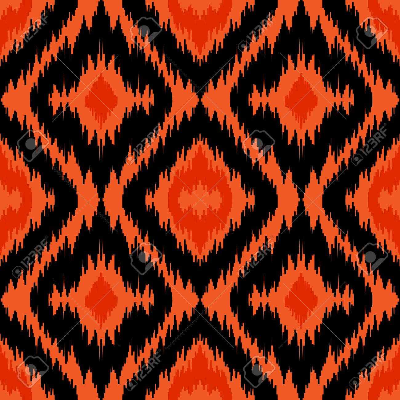 Ethnic Seamless Black And Orange Pattern Boho Abstract Textile