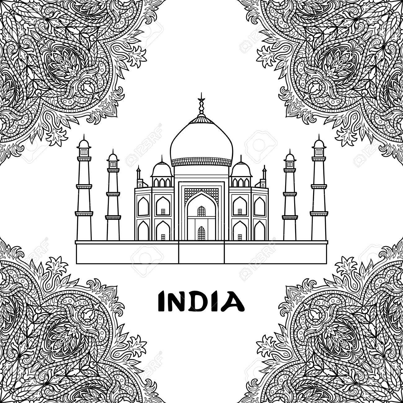 Modele De L Inde Avec Le Taj Mahal Sur Le Cadre De Mandala Floral Coloriage Noir Et Blanc Clip Art Libres De Droits Vecteurs Et Illustration Image 65355136