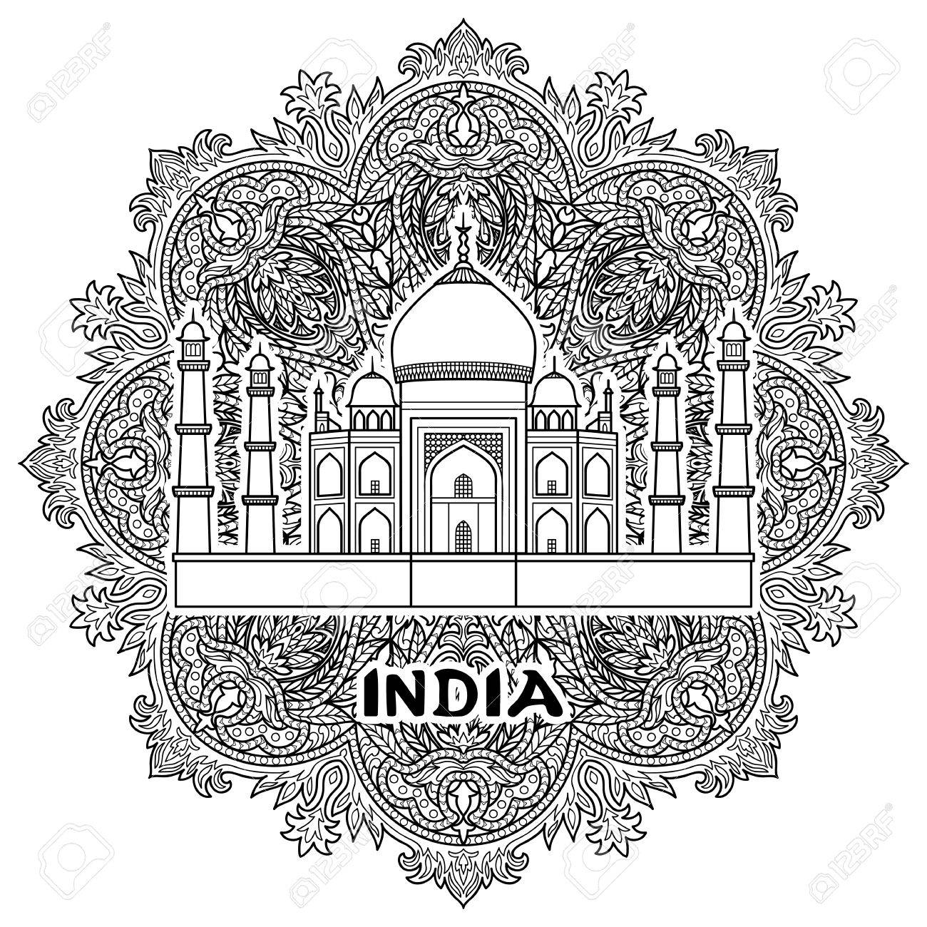 Patrón De La India Con Taj Mahal En Mandala Floral. Página En