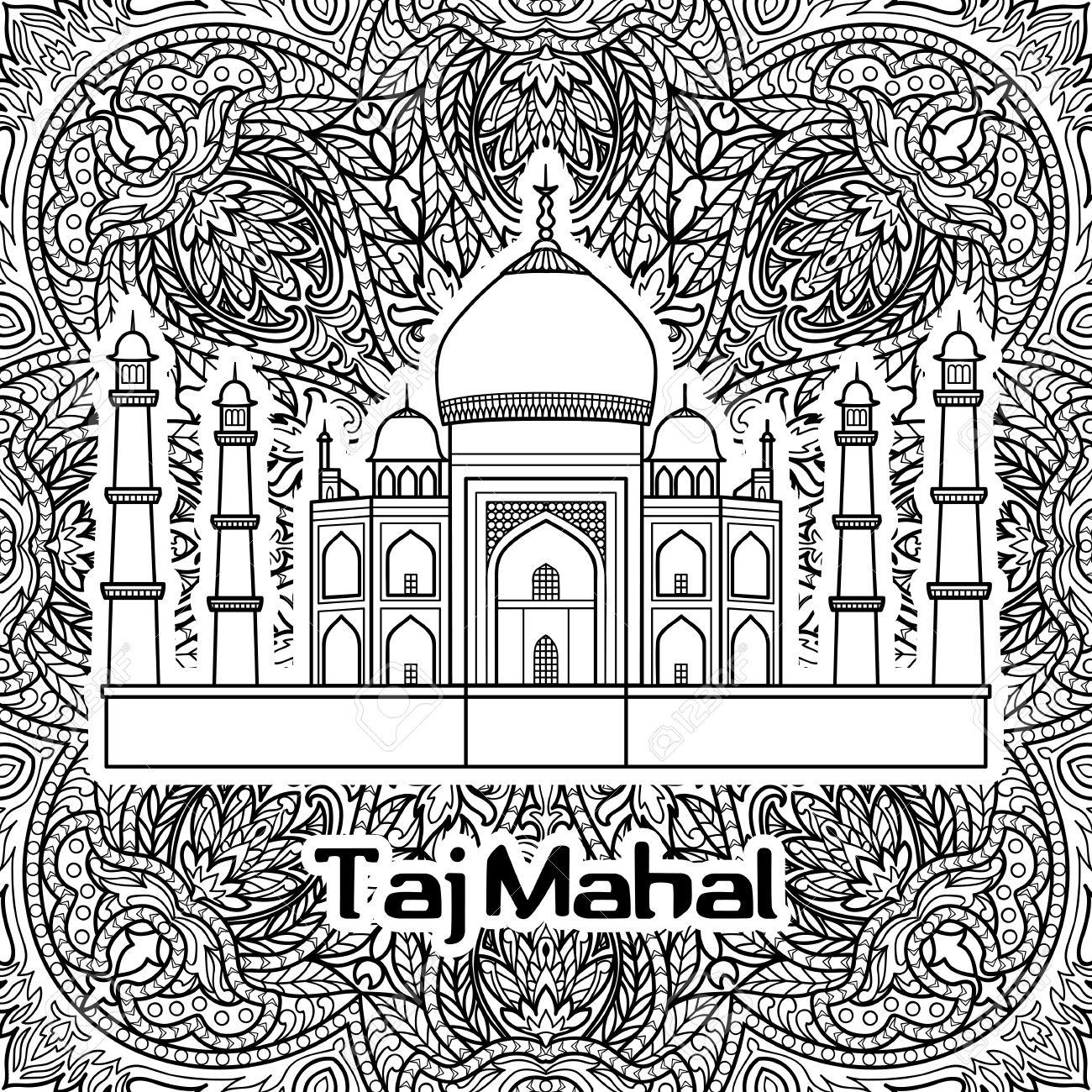 Patrón De La India Con Taj Mahal En Fondo Floral Mandala. Página