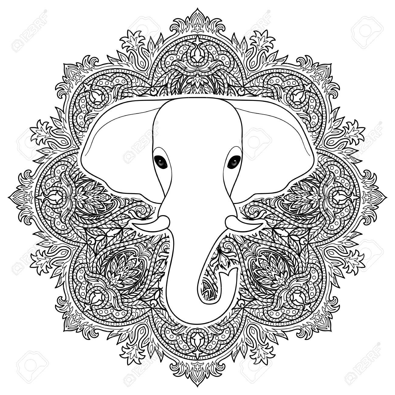 Indischer Elefant Auf Mandala Ornament Hintergrund Symbol Von