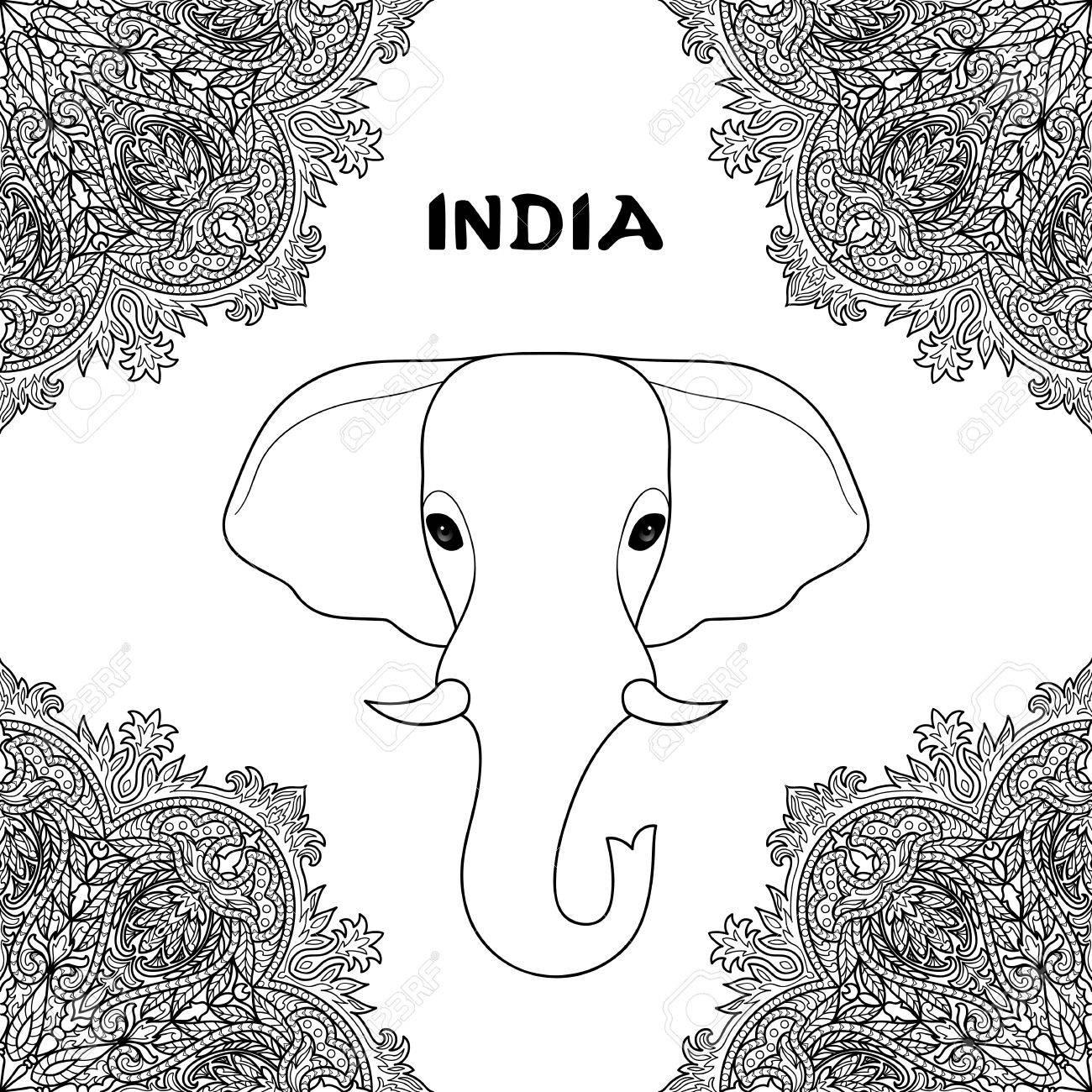 Elefante Indio En El Marco Del Ornamento De La Mandala. Símbolo De ...