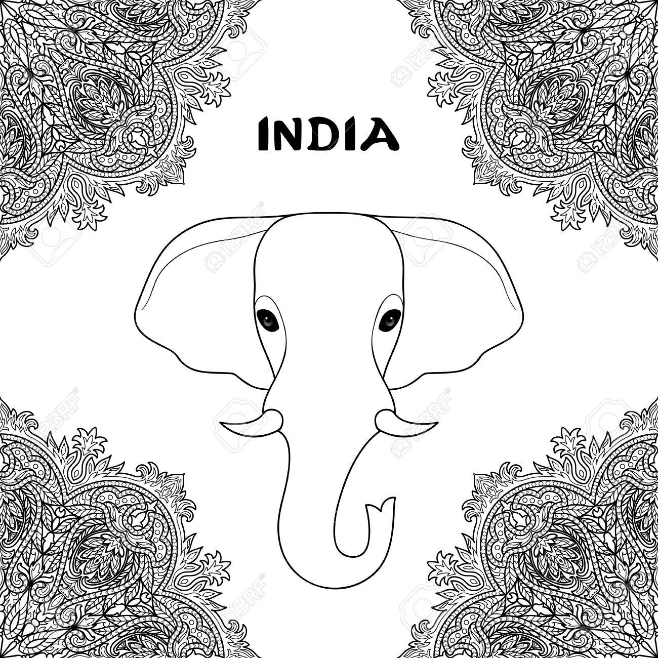 Indischer Elefant Im Mandalaverzierungsrahmen Symbol Von Indien
