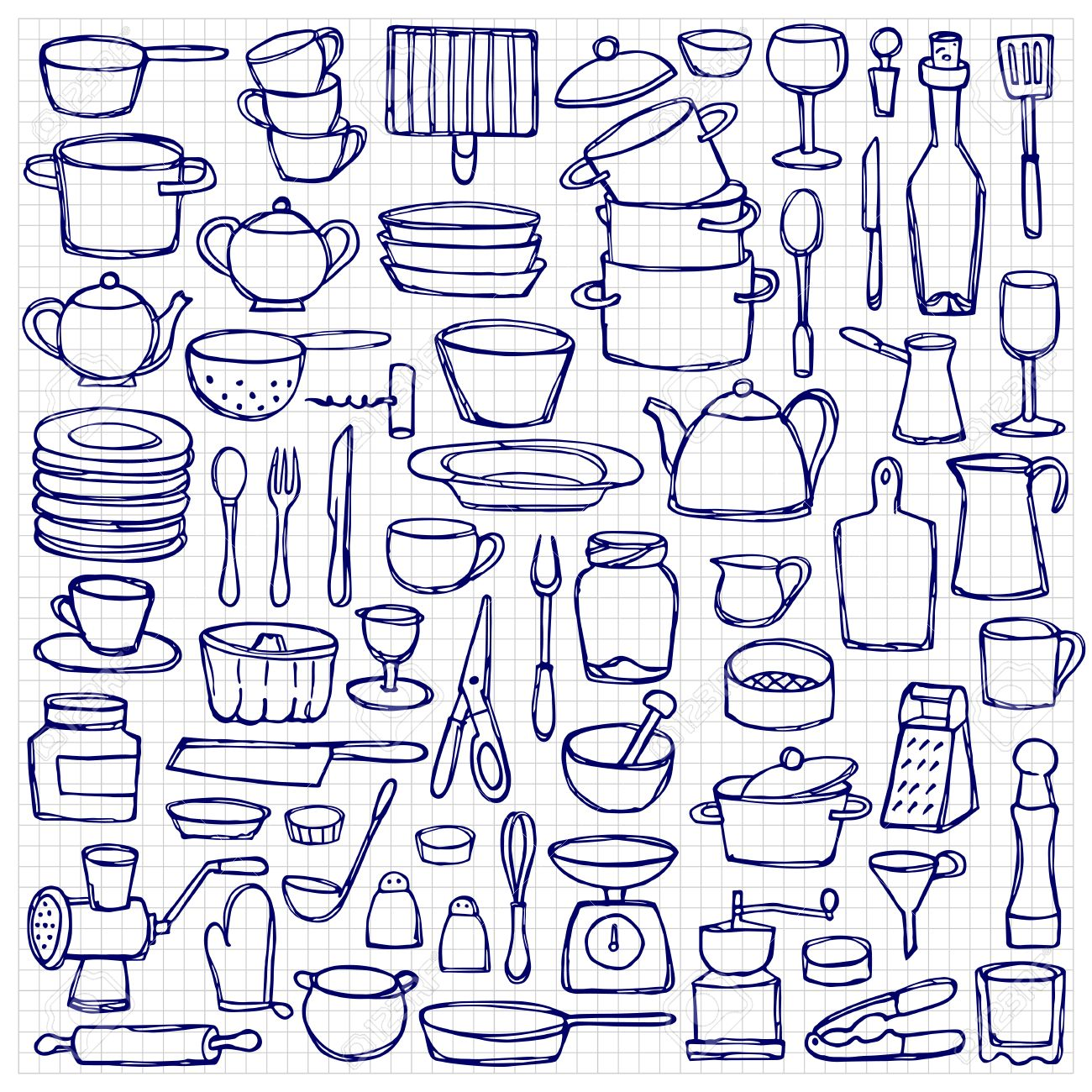 Kitchen Doodles Coloring Page Sketch Of Objects And Equipment On Squared Paper Stock
