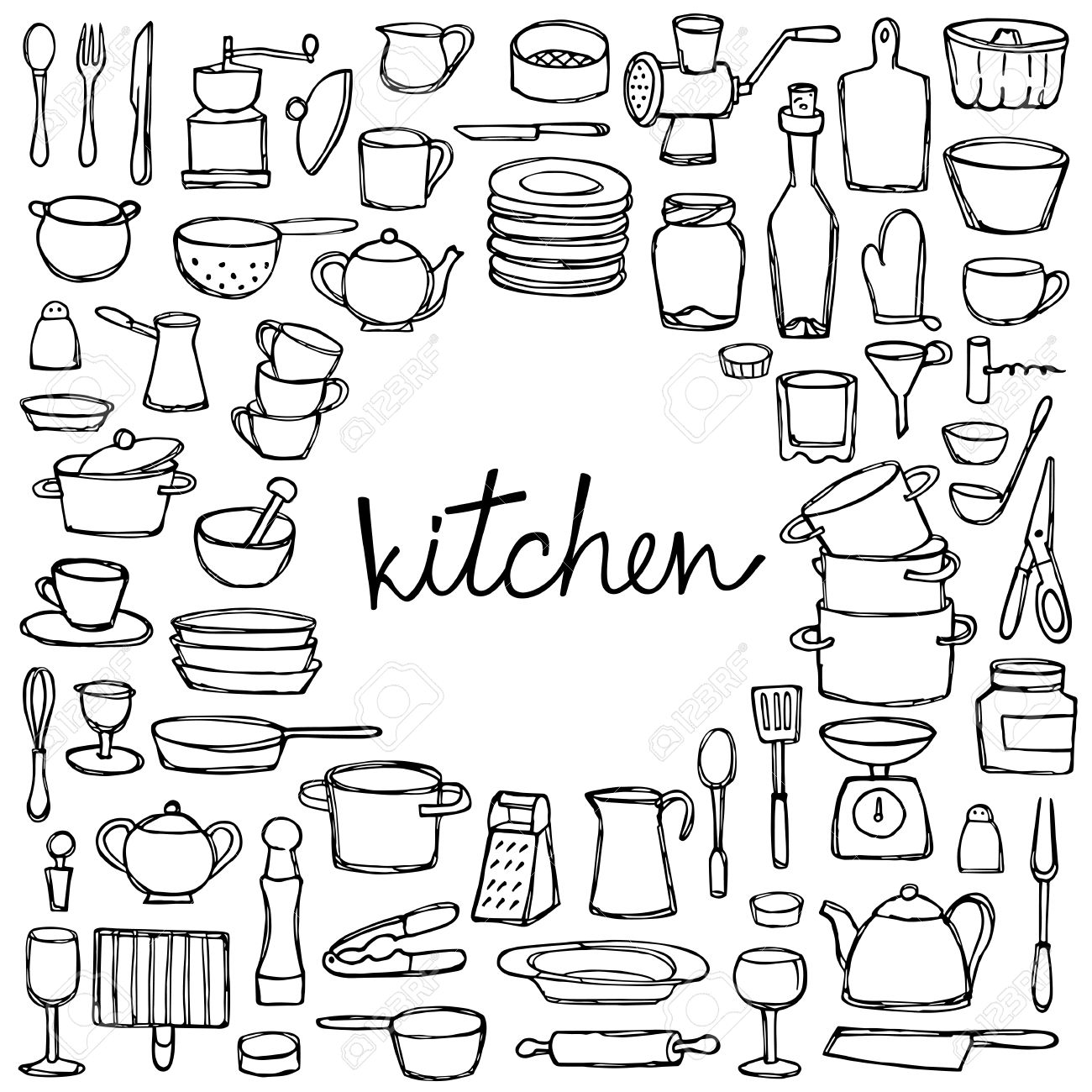 Kitchen doodles coloring page with lettering sketch of kitchen coloring page with lettering sketch of kitchen objects and equipment stock vector altavistaventures Choice Image