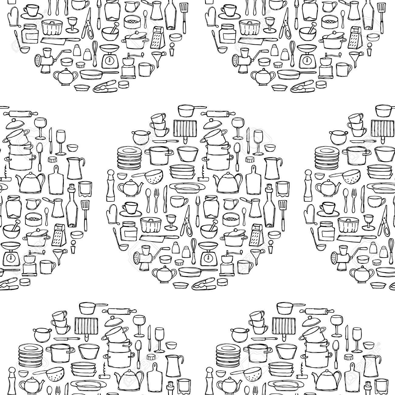Patrón De Círculo Inconsútil De Cocina Doodles Página Para Colorear Boceto De Objetos De Cocina Y Equipo Fondo De Pantalla