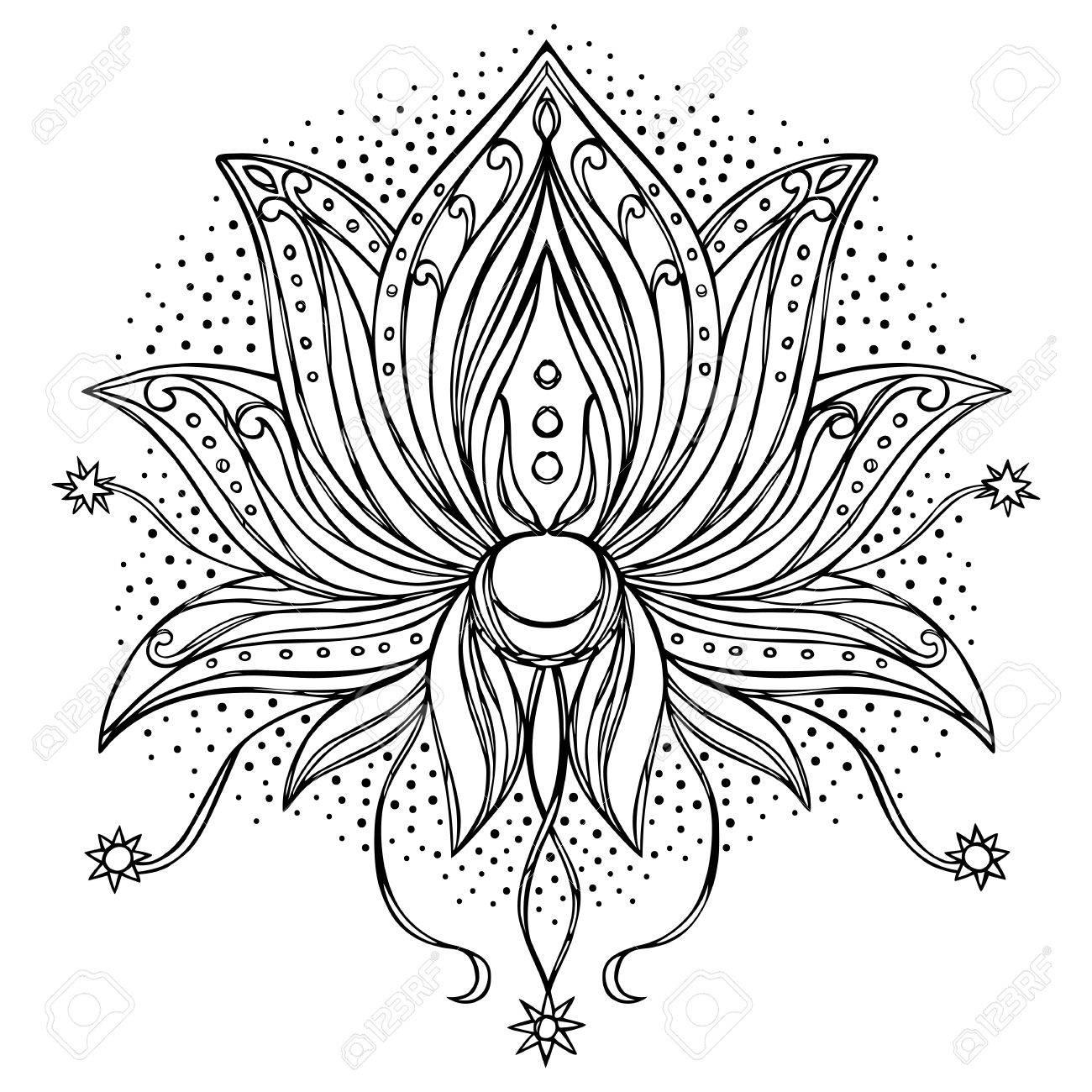 Loto. Símbolo Floral De Amuletos, Impresiones Textiles, Tatuajes ...
