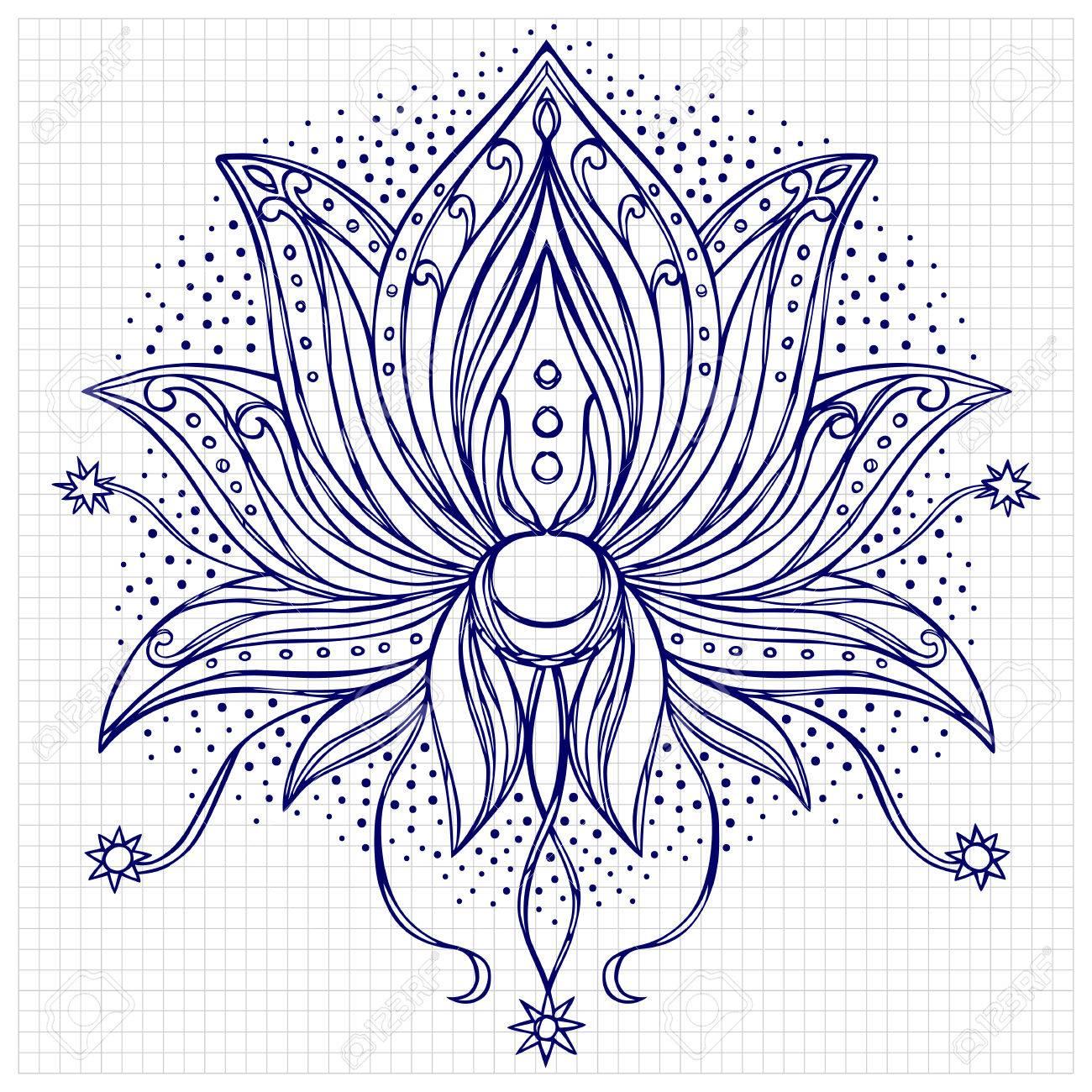 Doodle lotus floral symbol for amulets textile prints tattoos doodle lotus floral symbol for amulets textile prints tattoos coloring page mightylinksfo