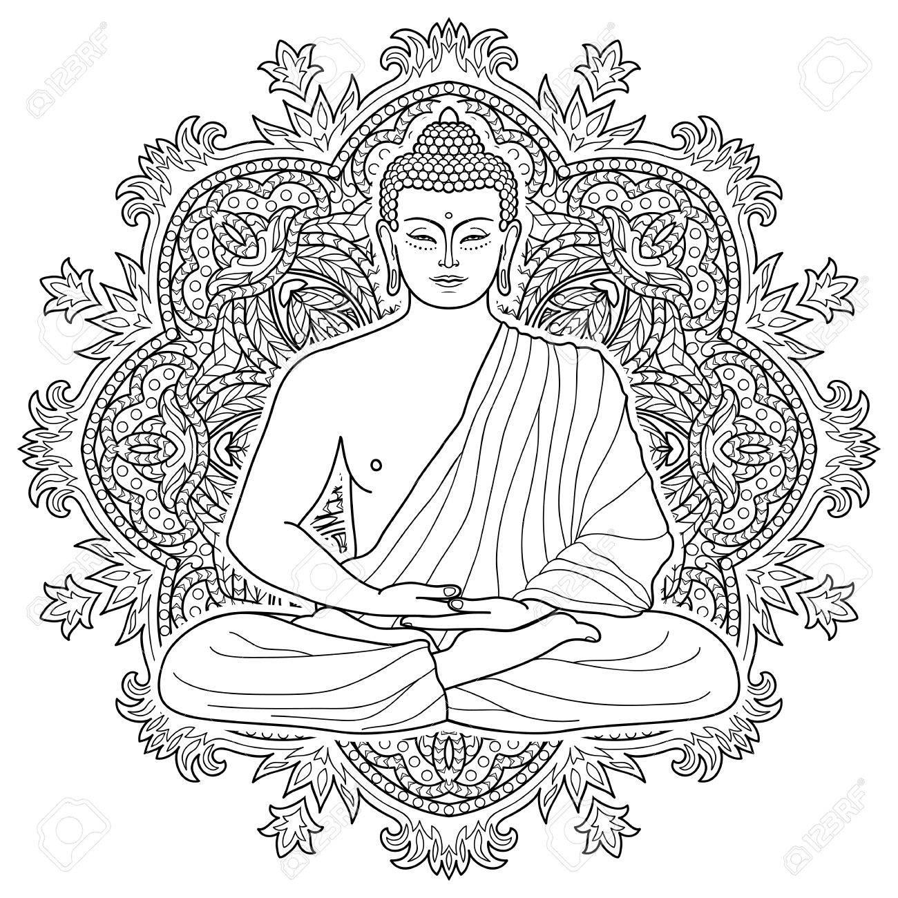 - Sitting Buddha In Lotus Position On Mandala Round Background