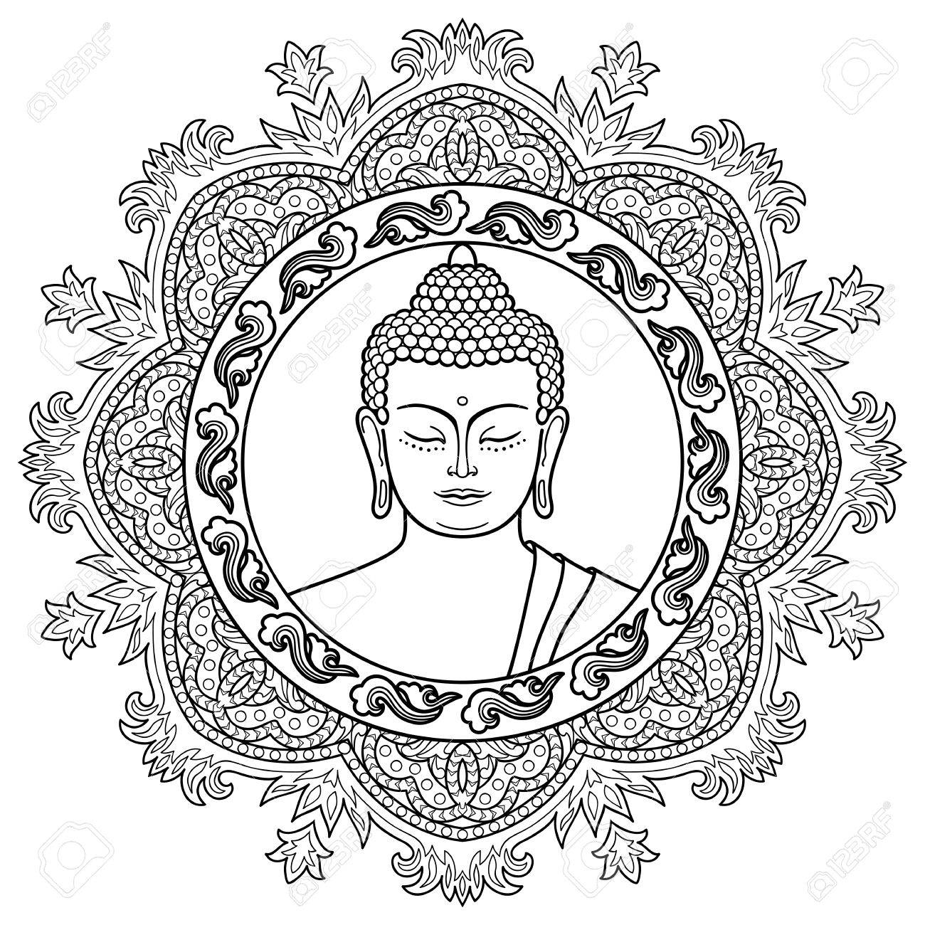 La Cabeza De Buda Con La Decoración Redondo De La Mandala. Muestra ...