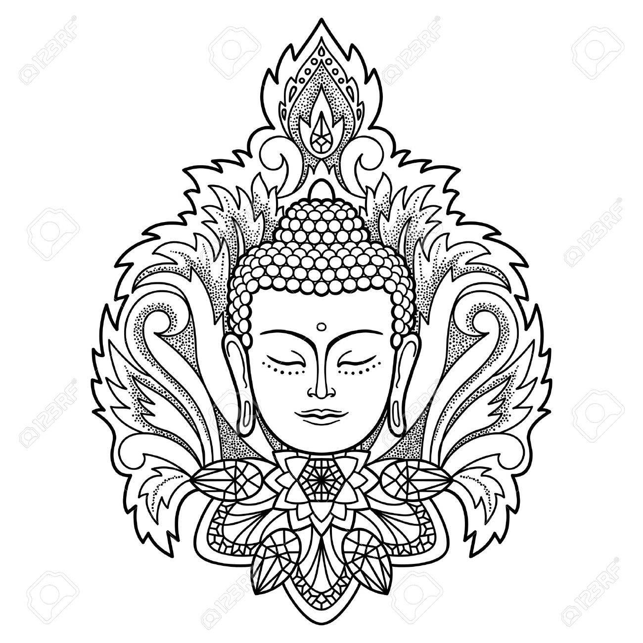 Buda Cabeza Con Decoración Floral. Muestra Para El Tatuaje ...
