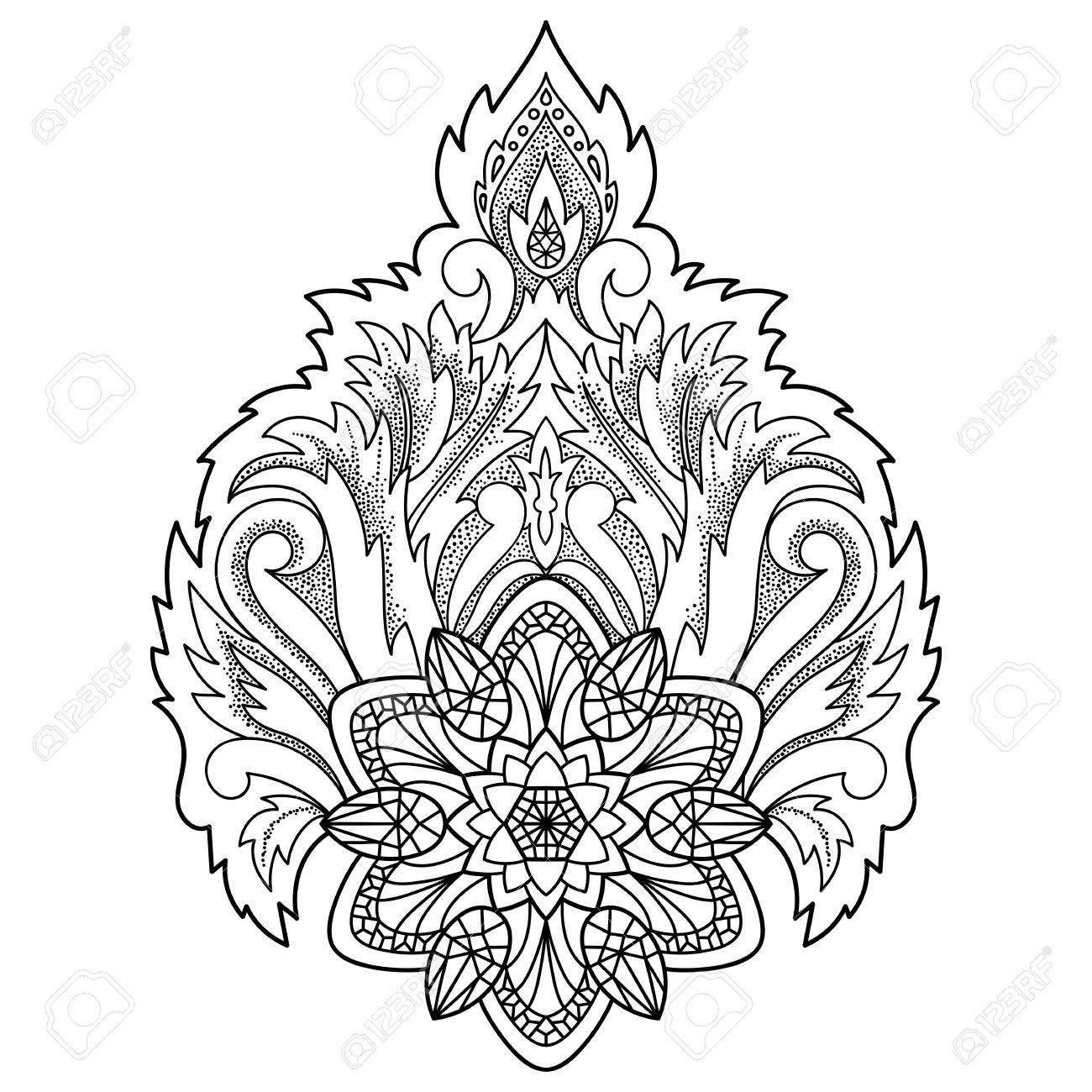 Zusammenfassung Dekorativen Lotus. Floral Symbol Für Amulette ...