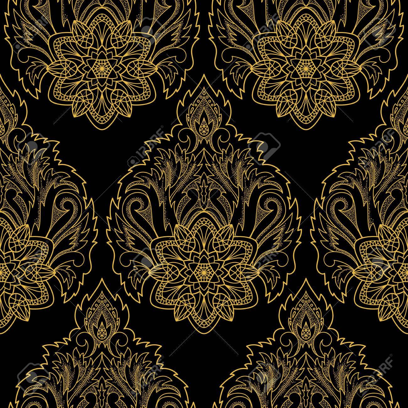 Carta Da Parati Nera decorativo astratto modello di loto senza soluzione di continuità. oro  floreale e carta da parati nero