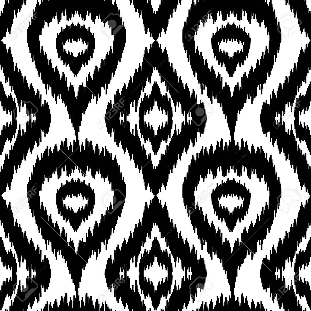 Motif Noir Et Blanc Ethnique Sans Soudure Boho Textile Impression