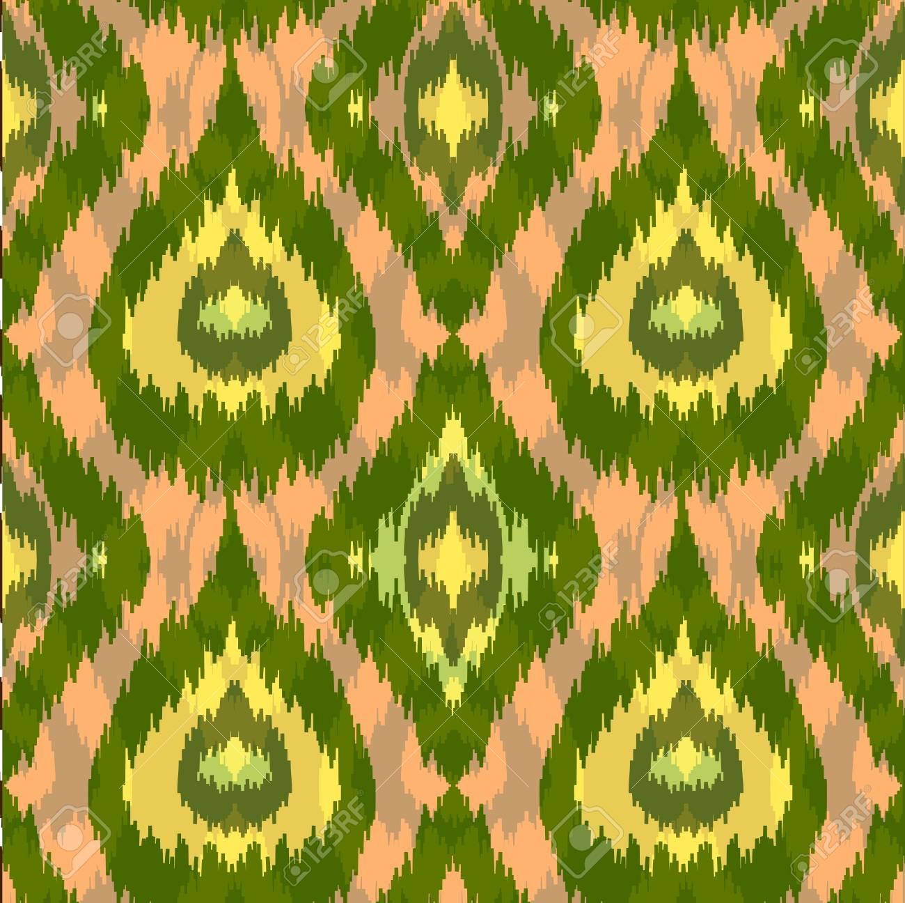 Motif Vert Ethnique Sans Soudure Impression Textile D Ete Boho