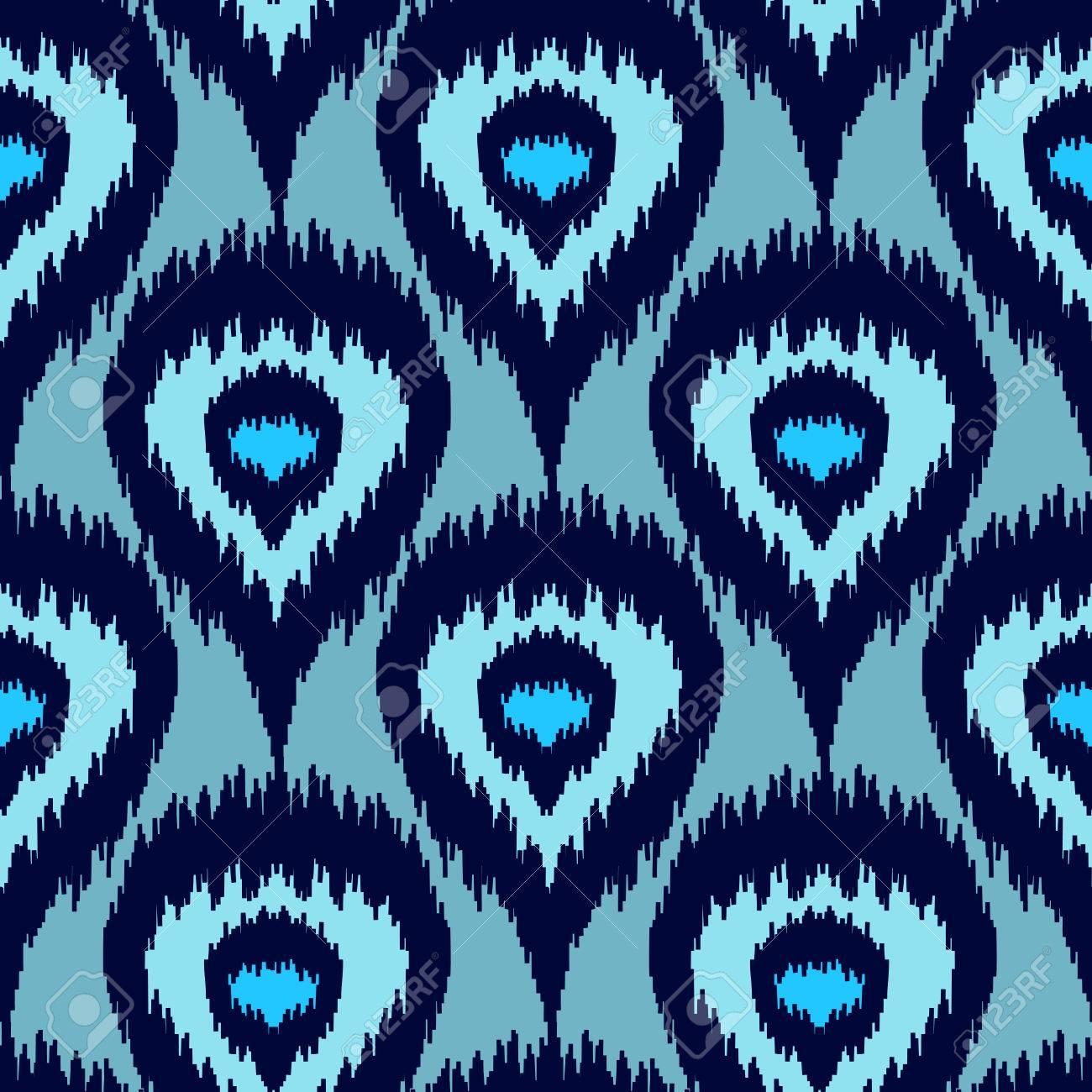 Ethnique Motif Bleu Transparent Boho Textile D Hiver Impression