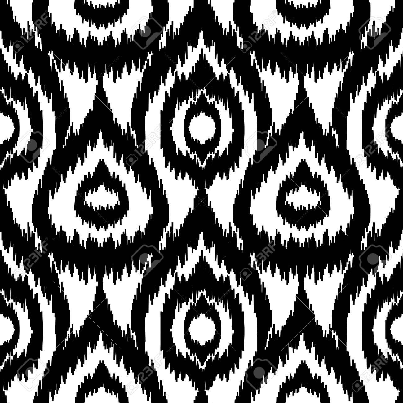 Ethnic Seamless Black And White Pattern Boho Textile Print Geometric Wallpaper With Abstract Drops