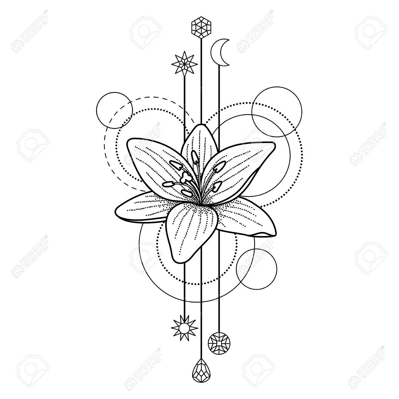Abstract floral techno tattoo with lily and geometric elements abstract floral techno tattoo with lily and geometric elements on white background stock vector 68976226 izmirmasajfo