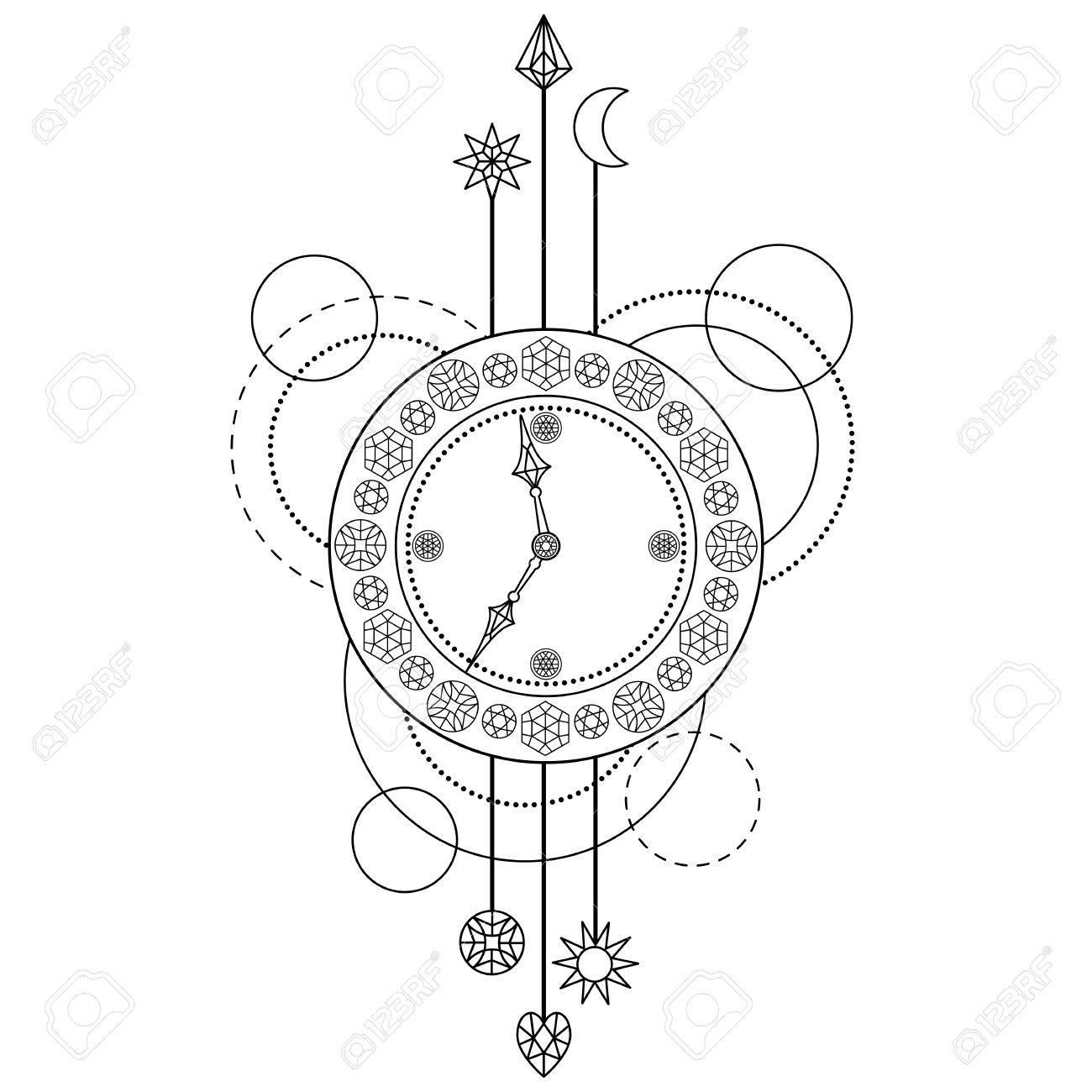 Resumen Patrón Techno Con Reloj Y Elementos Geométricos Sobre Fondo
