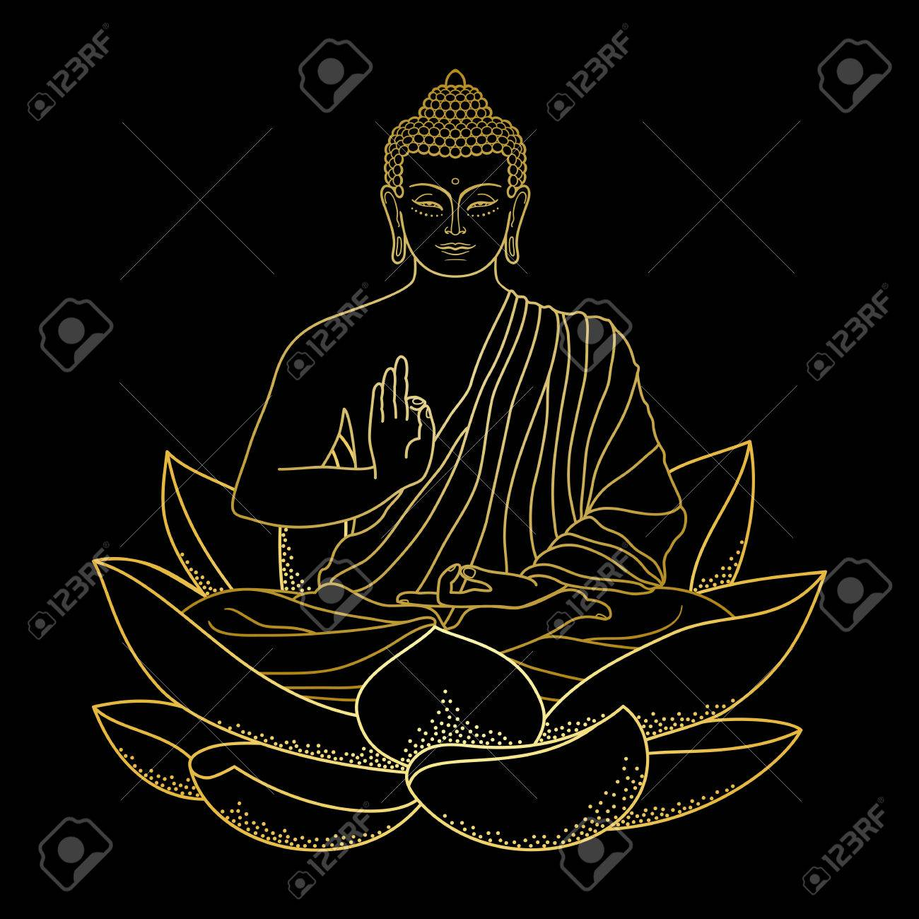 Gold Buddha Sitting On Lotus Royalty Free Cliparts Vectors And