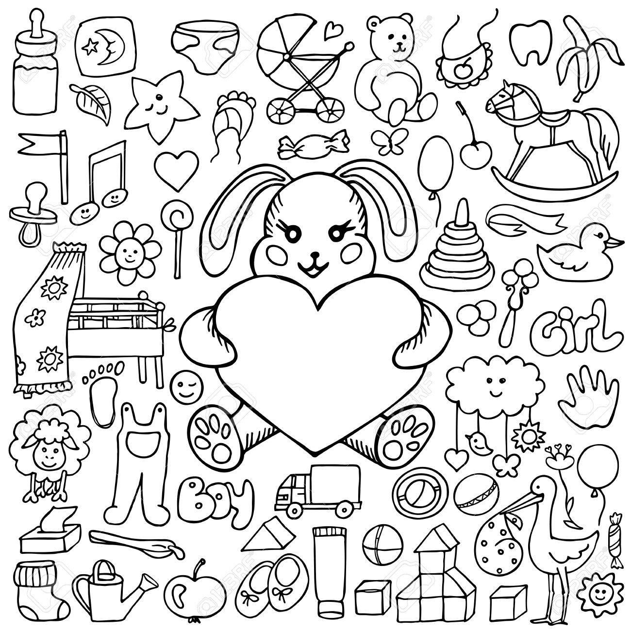 Burlarse De Objetos Dibujados A Mano Del Bebé Del Doodle Ilustración Vectorial Para Portadas Libros Para Colorear Tarjetas Postales