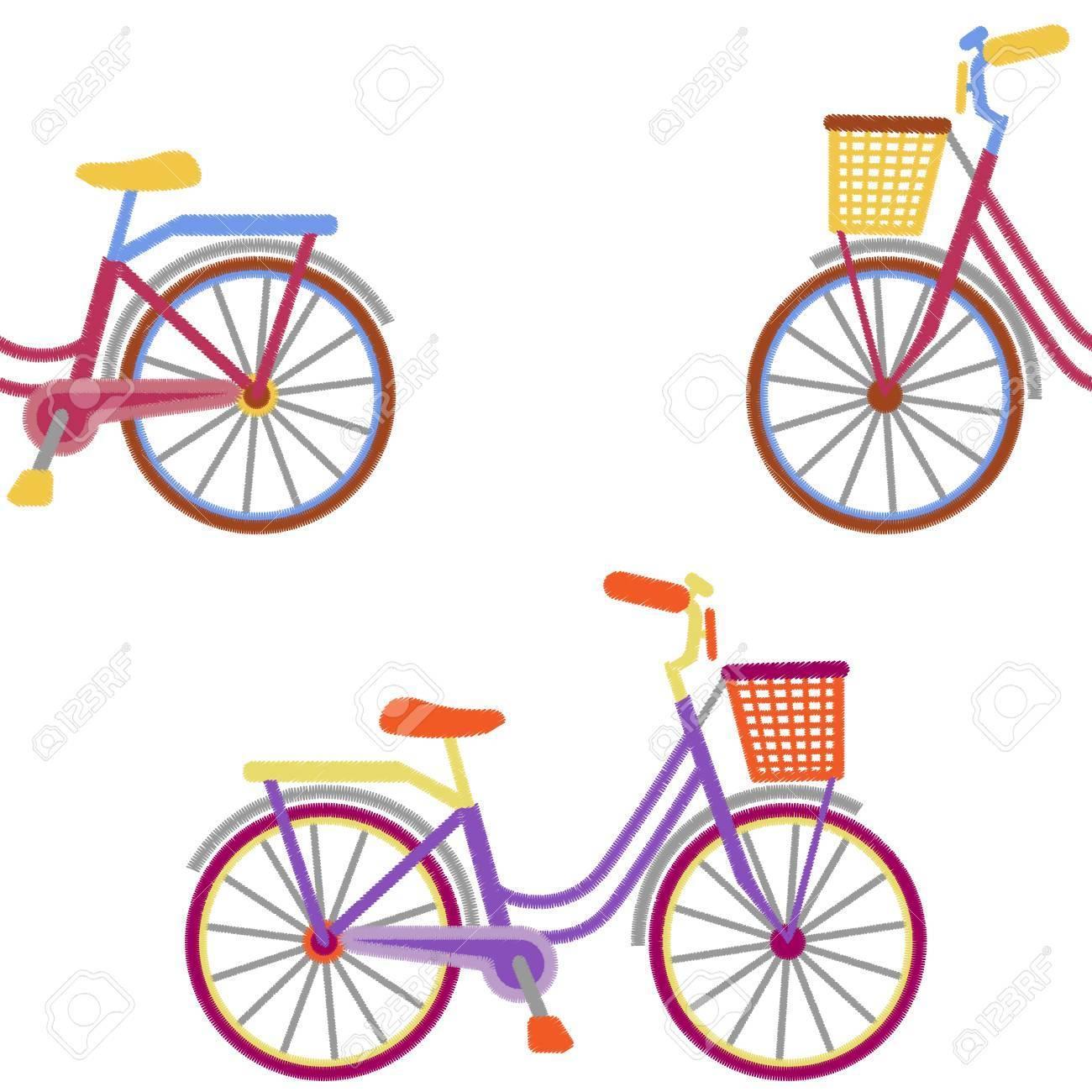 Patrón Sin Costuras De Bicicleta Con Canasta En Diseño De Bordado ...
