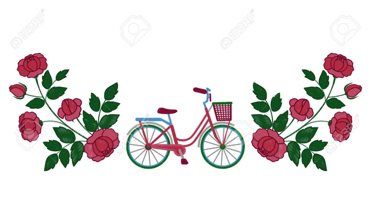 Patrón De Bordado De Bicicleta Y Rosas Ilustraciones Vectoriales ...