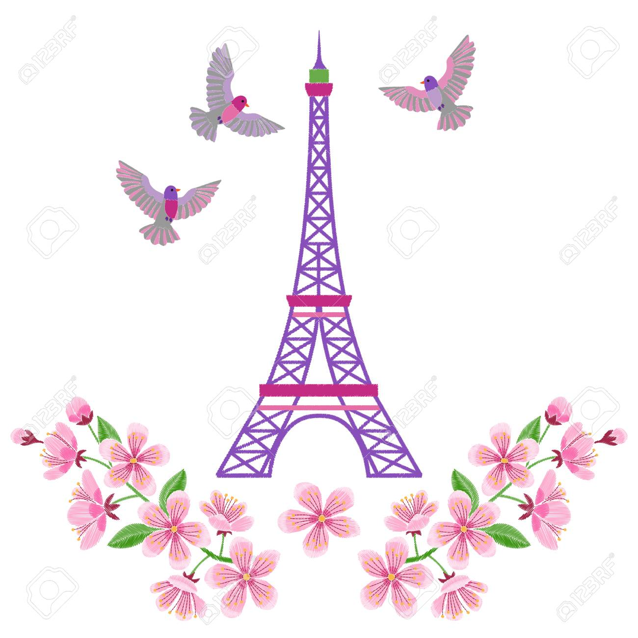 Paris Embroidery Spring Pattern With Eiffel Tower On White