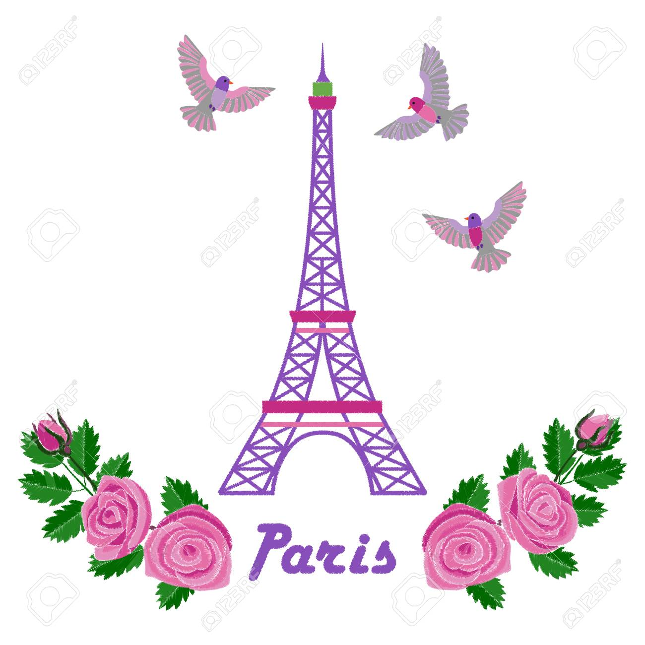 Paris Embroidery Romantic Pattern With Eiffel Tower On White