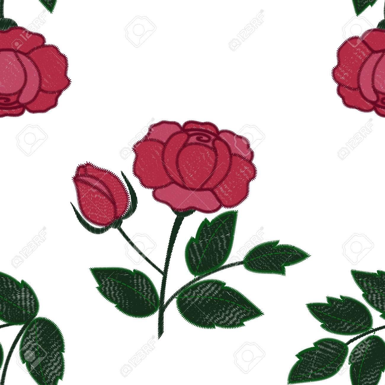 Sin Patrón De Bordado Rosa Ilustraciones Vectoriales, Clip Art ...