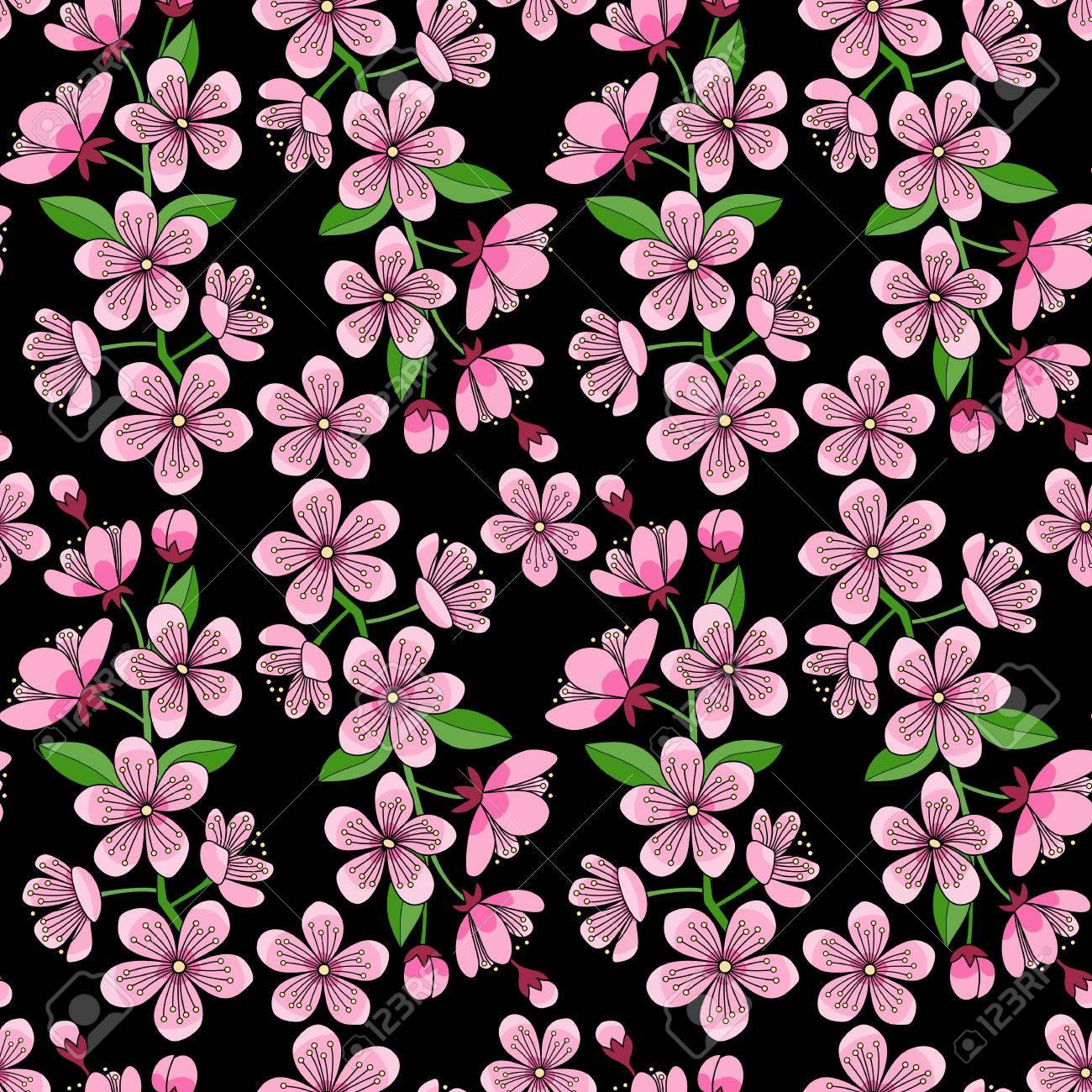 Modele Sans Couture Chaotique De Fleur De Cerisier Sur Fond Noir