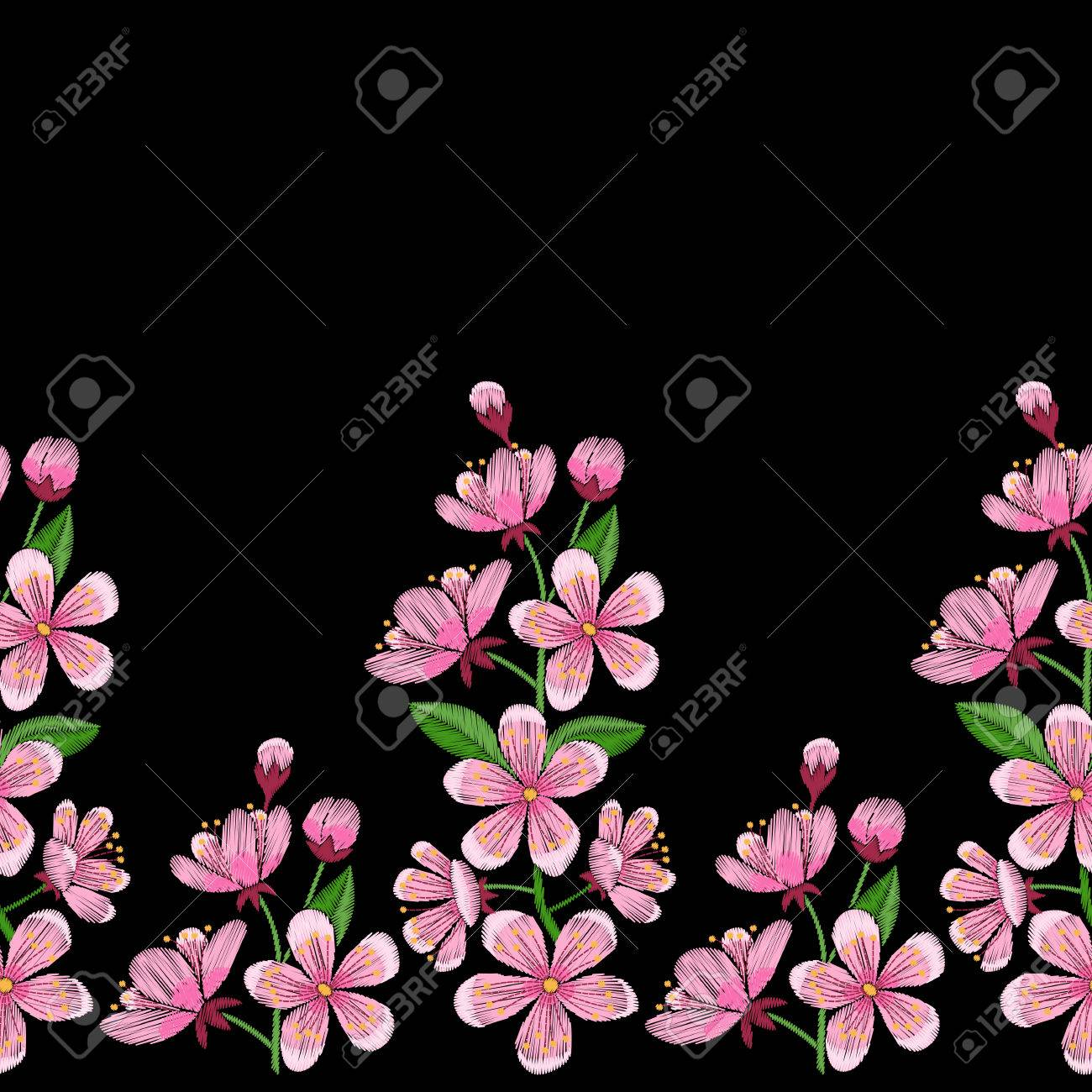 Cherry Blossom Embroidery Seamless Border Needlework Textile Wallpaper Isolated On Black Background Stock Vector