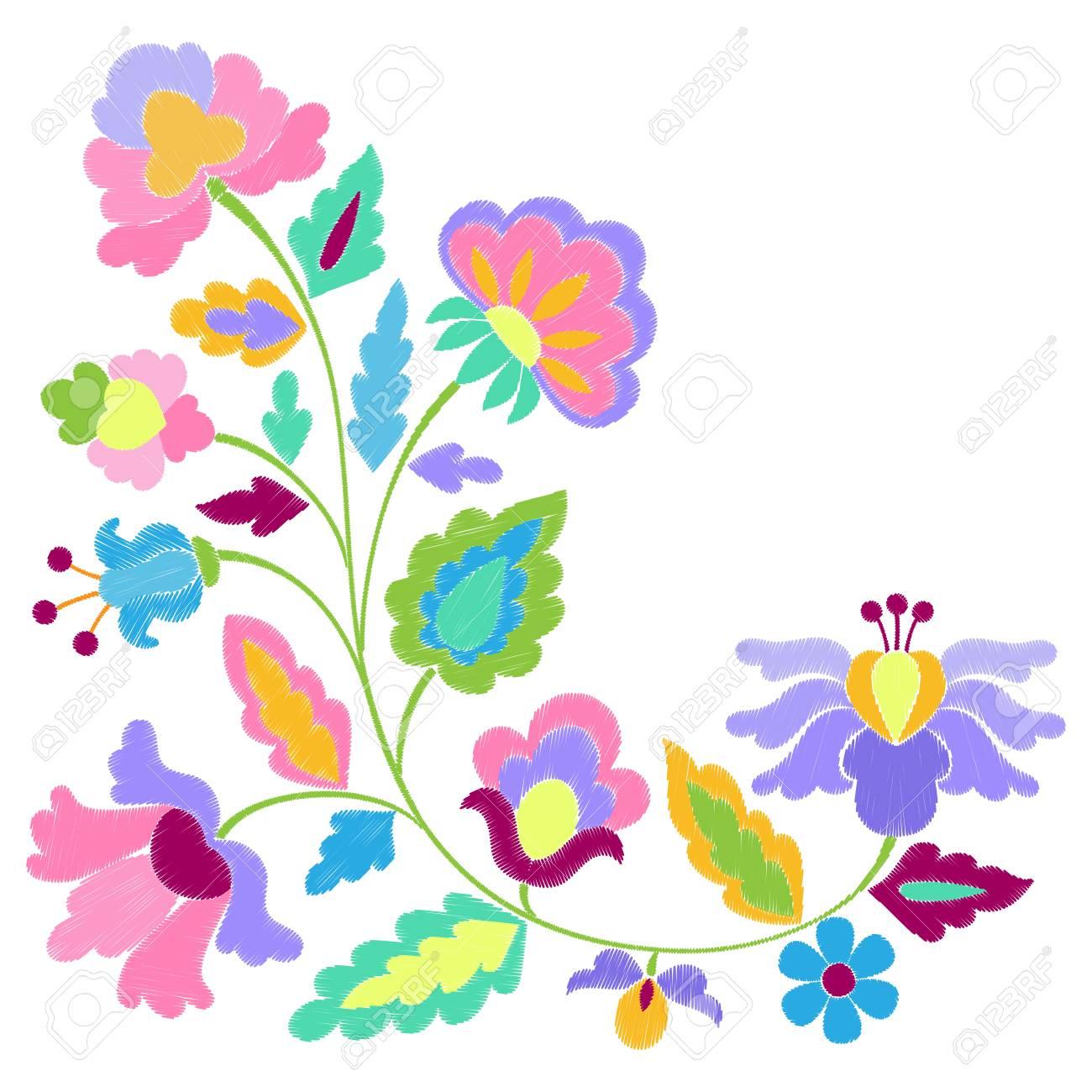 Flores De Fantasía Patrón Bordado Ilustraciones Vectoriales, Clip ...