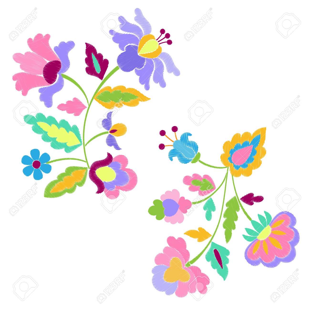 Flores De Fantasía Bordado Patrón Conjunto Ilustraciones Vectoriales ...